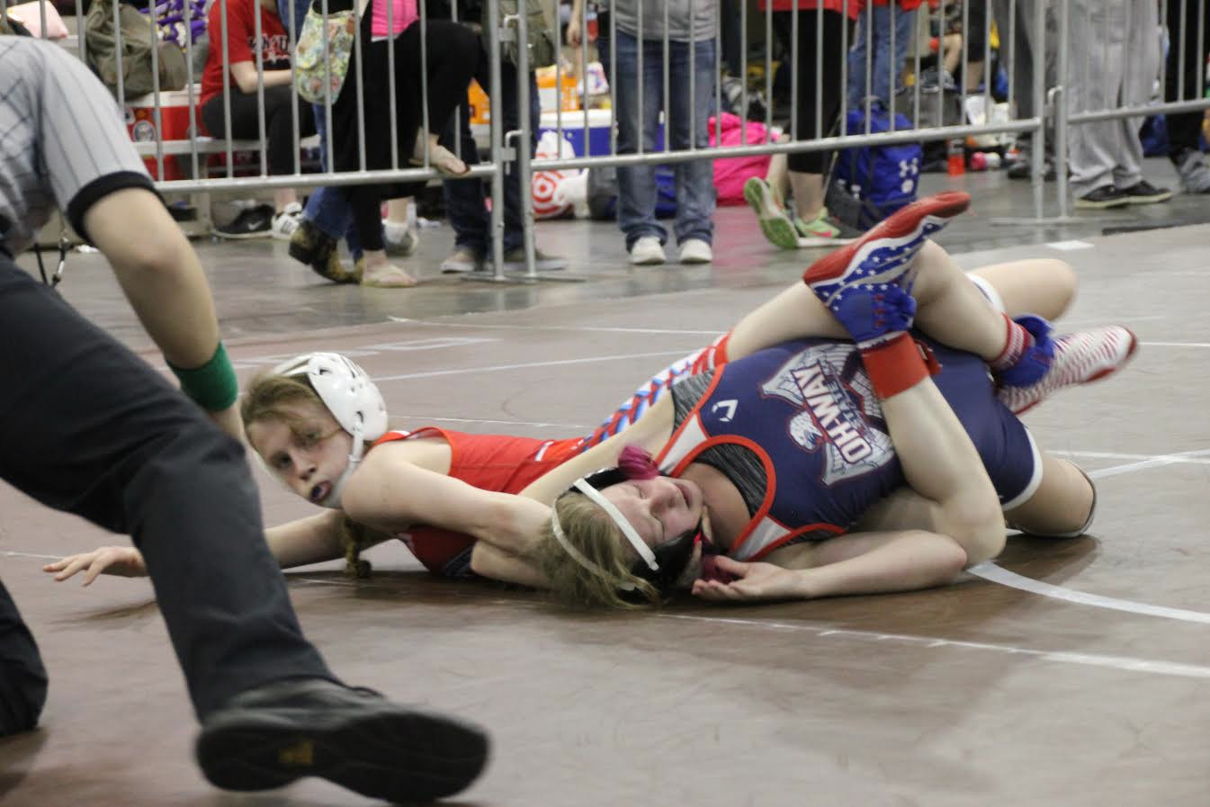 Kailey Rees wrestles during a third-place match, which she would eventually win, at a national event.