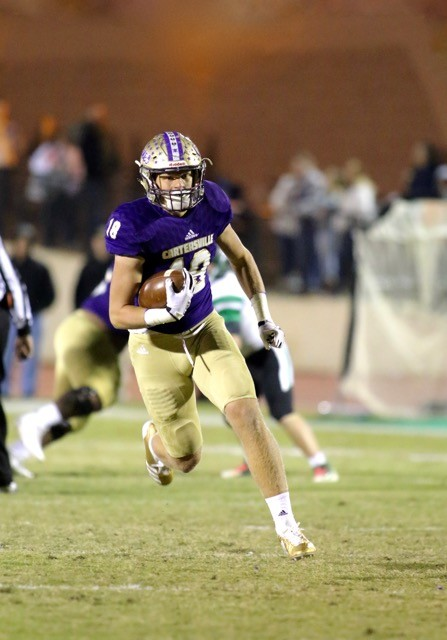 In this 2017 file photo, Cartersville tight end Jackson Lowe heads upfield against Pickens. On Monday, the rising senior landed on the Atlanta Journal-Constitution preseason all-state team.