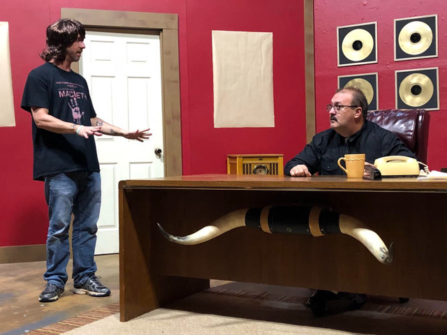 "Matt Thompson, left, and Duane Ellis rehearse a scene from ""Elvis Has Left the Building,"" which opens Friday at The Legion Theatre in Cartersville."