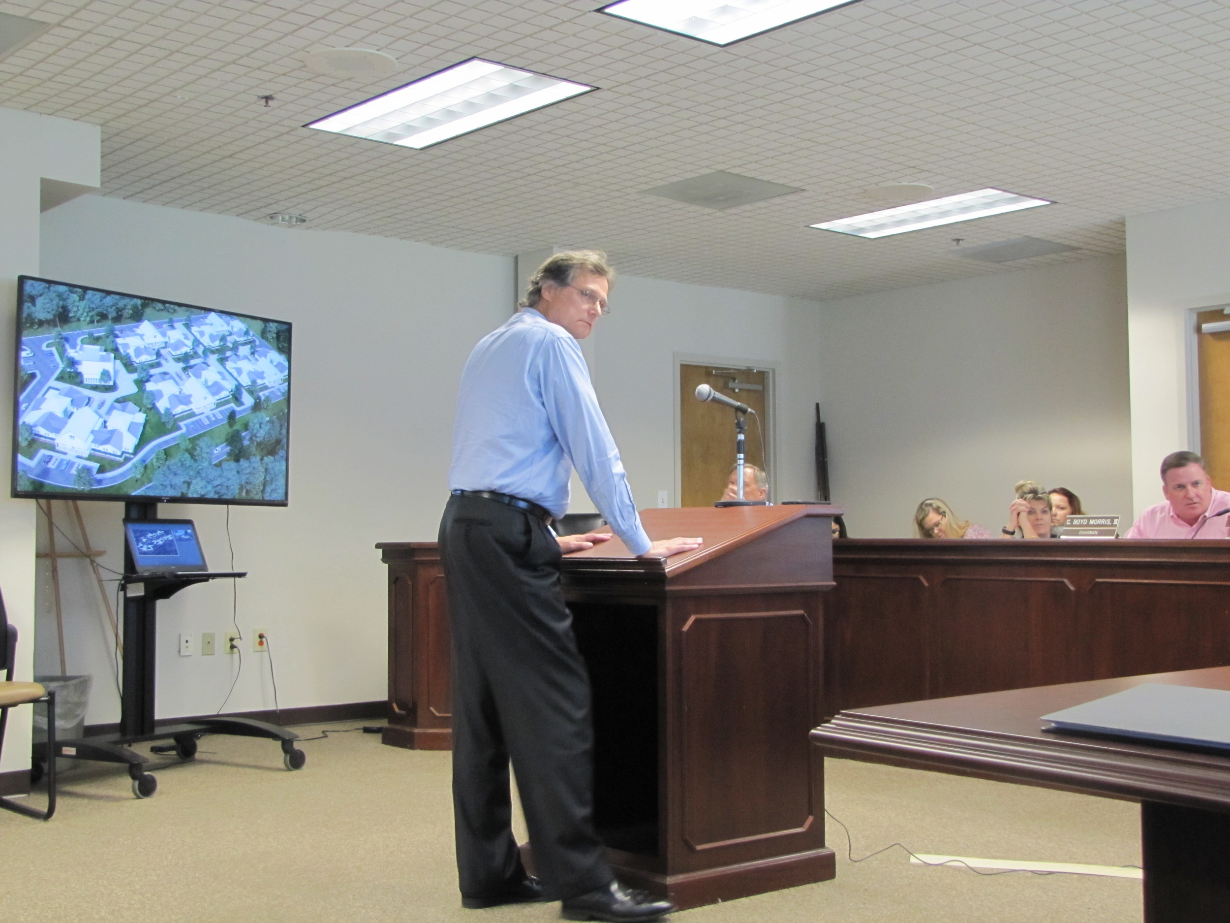 Rick Massey, an architect for Alpharetta-based firm Stegenga + Partners, speaks at Monday evening's Bartow County Planning and Zoning Commission meeting.