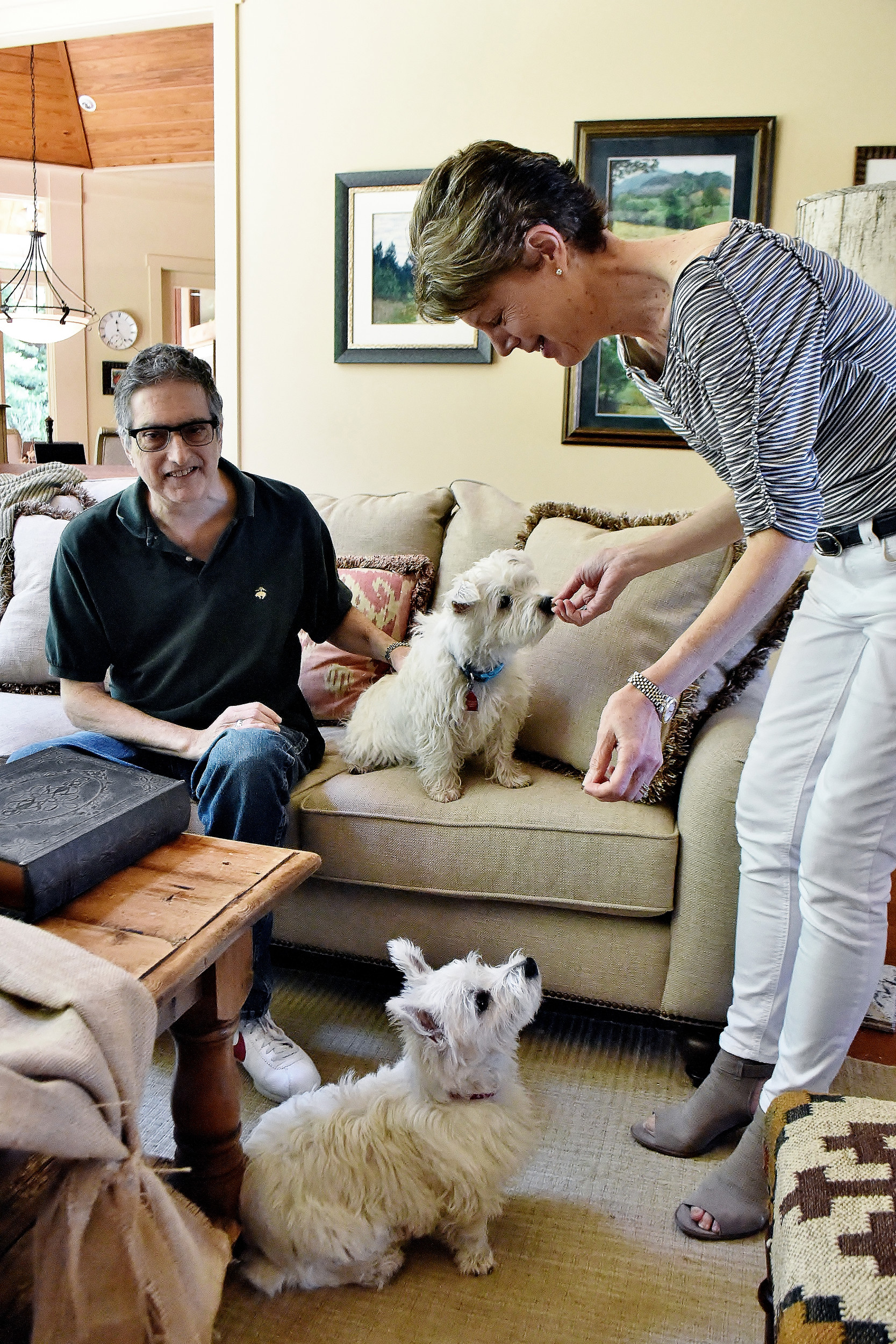 Stuart and Carole Miller's dogs Oliver, on the couch, and Teddy provide constant entertainment in their Cartersville home. The couple recently participated in the National Kidney Registry's Paired Exchange program.