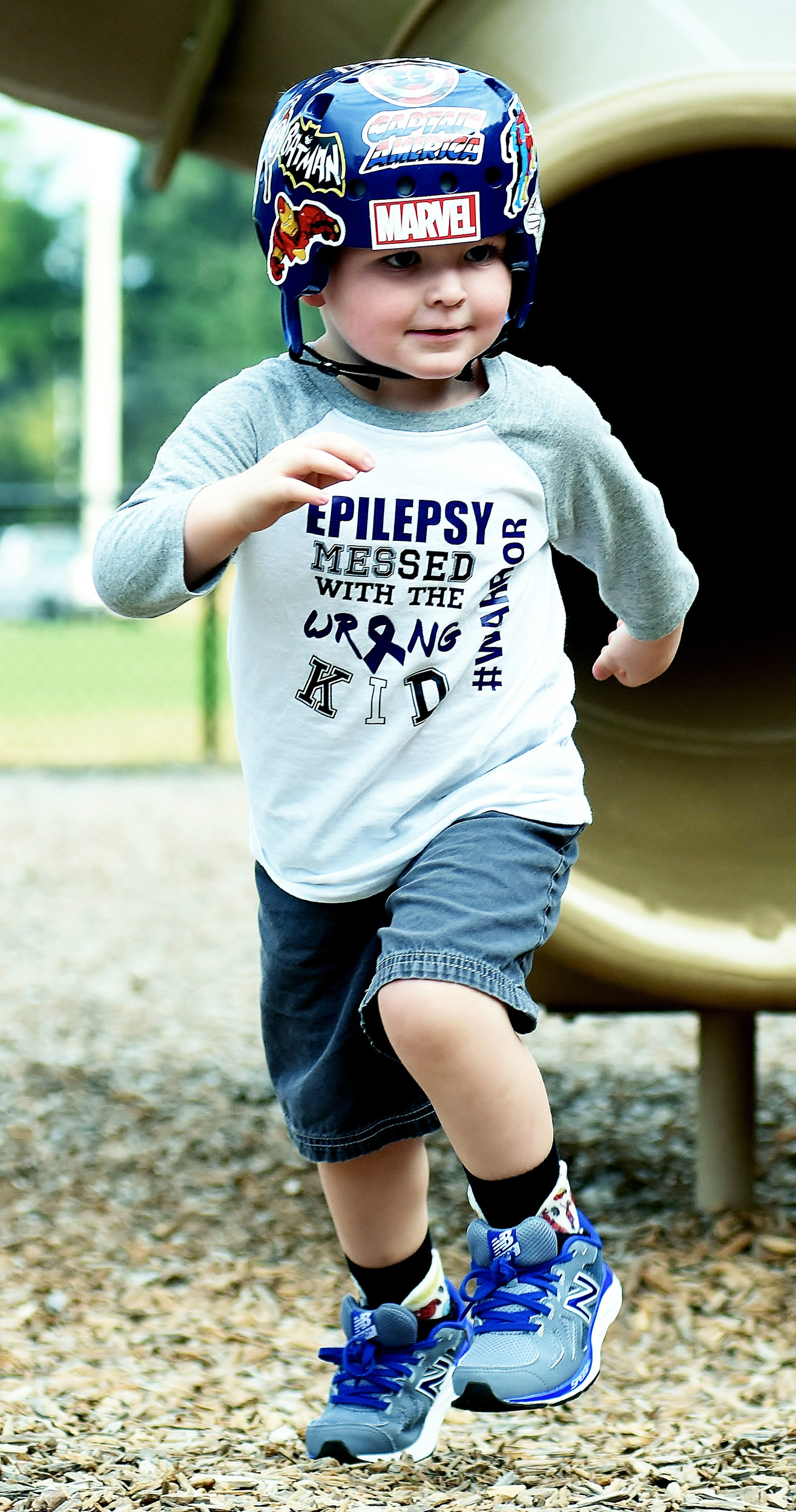 Three-year-old Cade Allen runs on one of the Dellinger Park playgrounds.