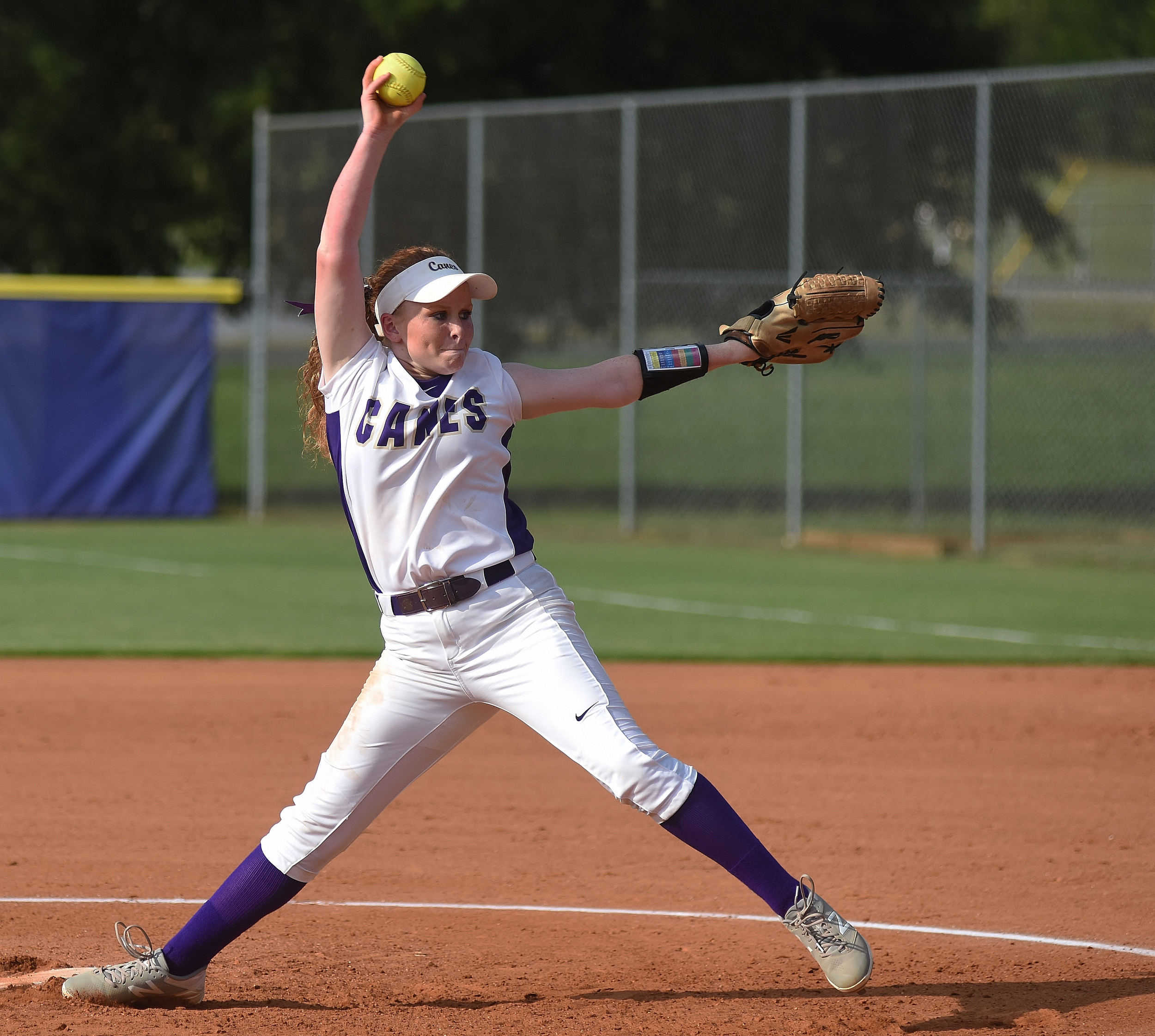 Cartersville's Anna Kate McElhaney throws a pitch during Thursday's home game against Woodland. The sophomore struck out five in a complete-game victory.