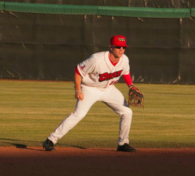 Connor Justus gets in a defensive stance during a game for the Orem Owlz. The former Cartersville High shortstop was promoted last week from Advanced-A Inland Empire to the Double-A Mobile BayBears, where he began the season.