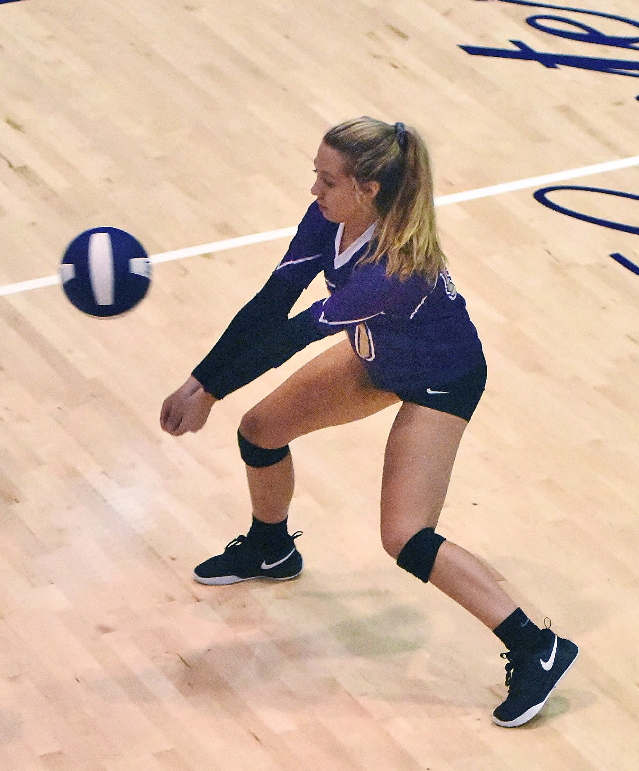 Cartersville's Anna Mathis bumps the ball during Thursday's match at The Storm Center.
