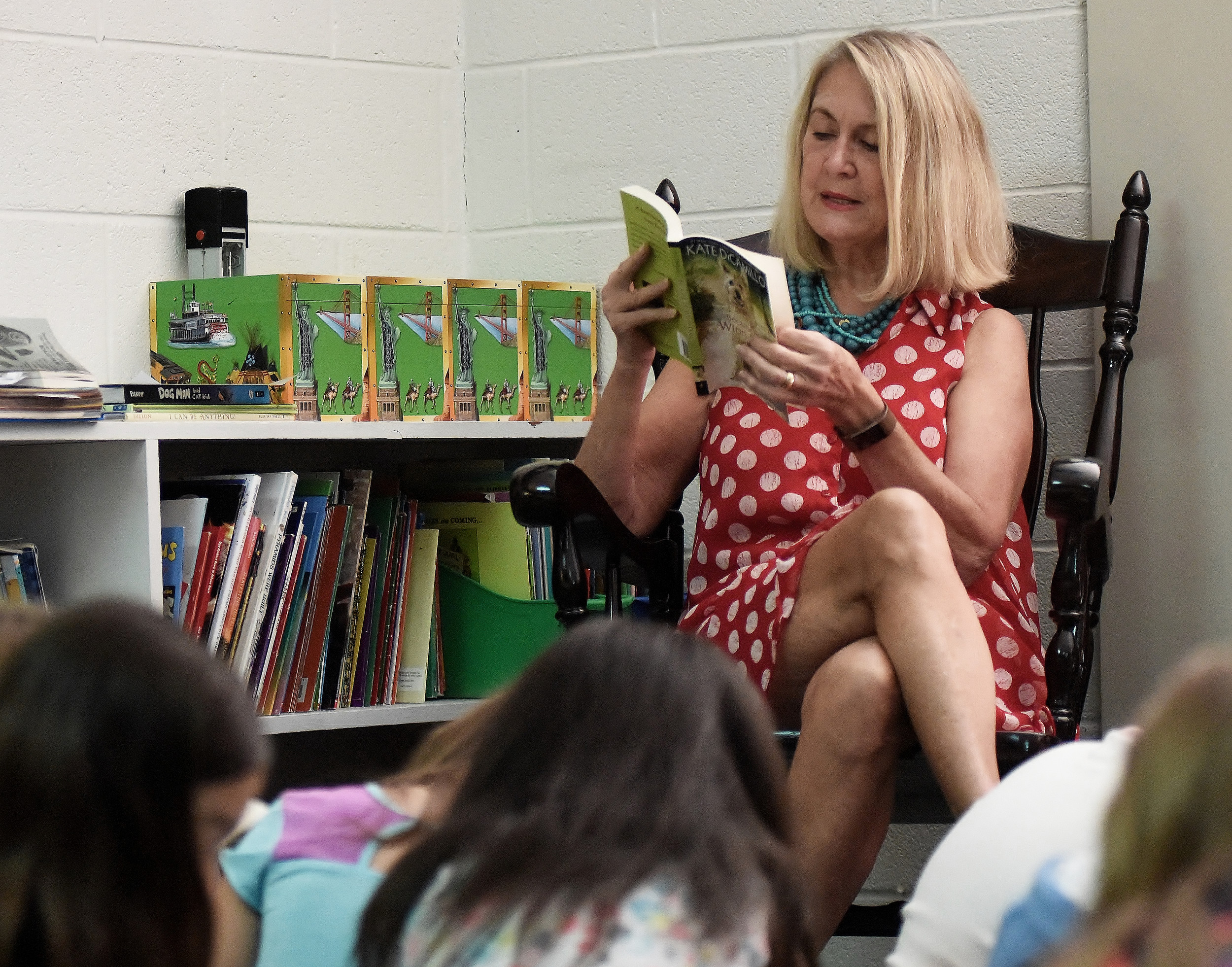 "Kiwanis Club of Cartersville President Dr. Linda Denham reads ""Because of Winn-Dixie"" Friday morning to students in Amber Corbin's third-grade class at Euharlee Elementary School."