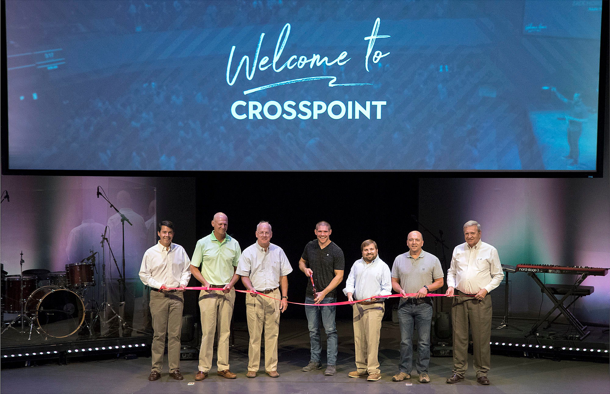 Participating in the ribbon cutting ceremony for Crosspoint City Church were Matthew Gambill, incoming state representative, District 15; Bartow County Tax Commissioner Steve Stewart;