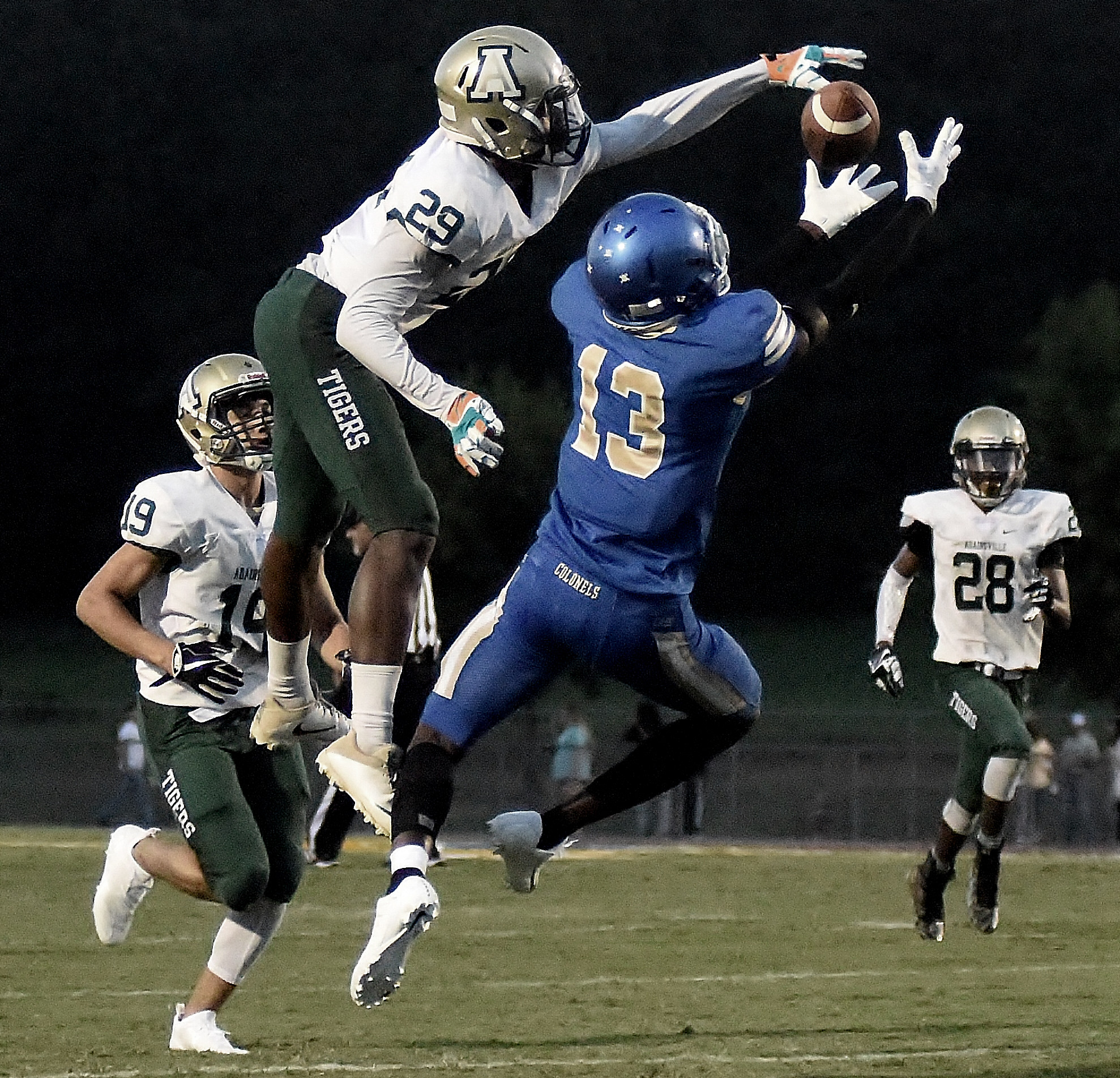 Adairsville's Danarous Johnson breaks up a pass intended for Cass' Jacquez Fountain during Friday's game. Fountain hauled in seven catches for 121 yards in the win.