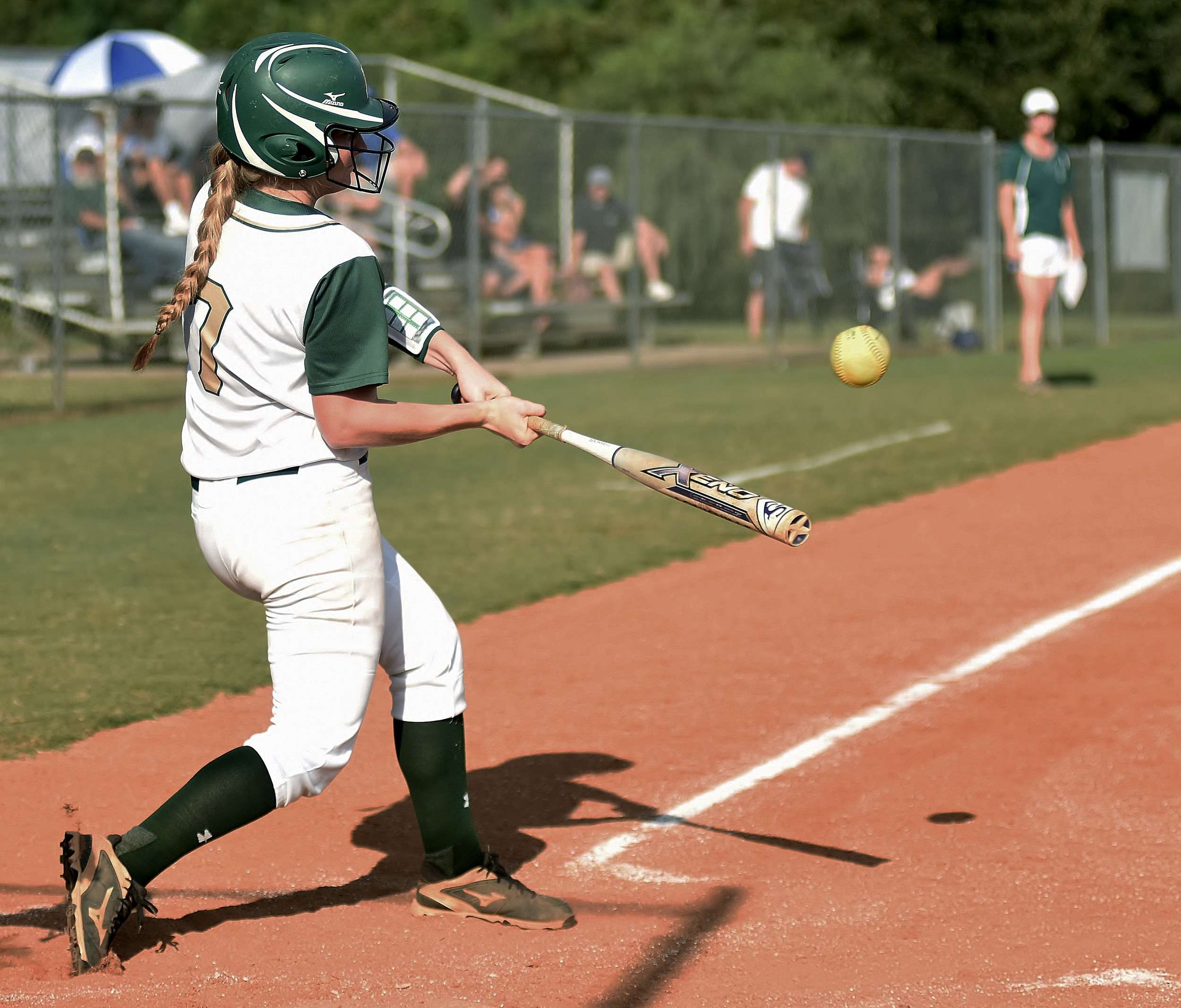 Adairsville left fielder Sierra Tanner connects on an RBI double Monday against Ringgold.