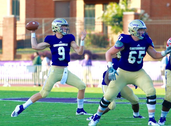 Cartersville junior quarterback Tee Webb throws a pass during an Aug. 10 game at Weinman Stadium against Allatoona. Webb and the Canes will look to continue their early season success against Luella Friday night.