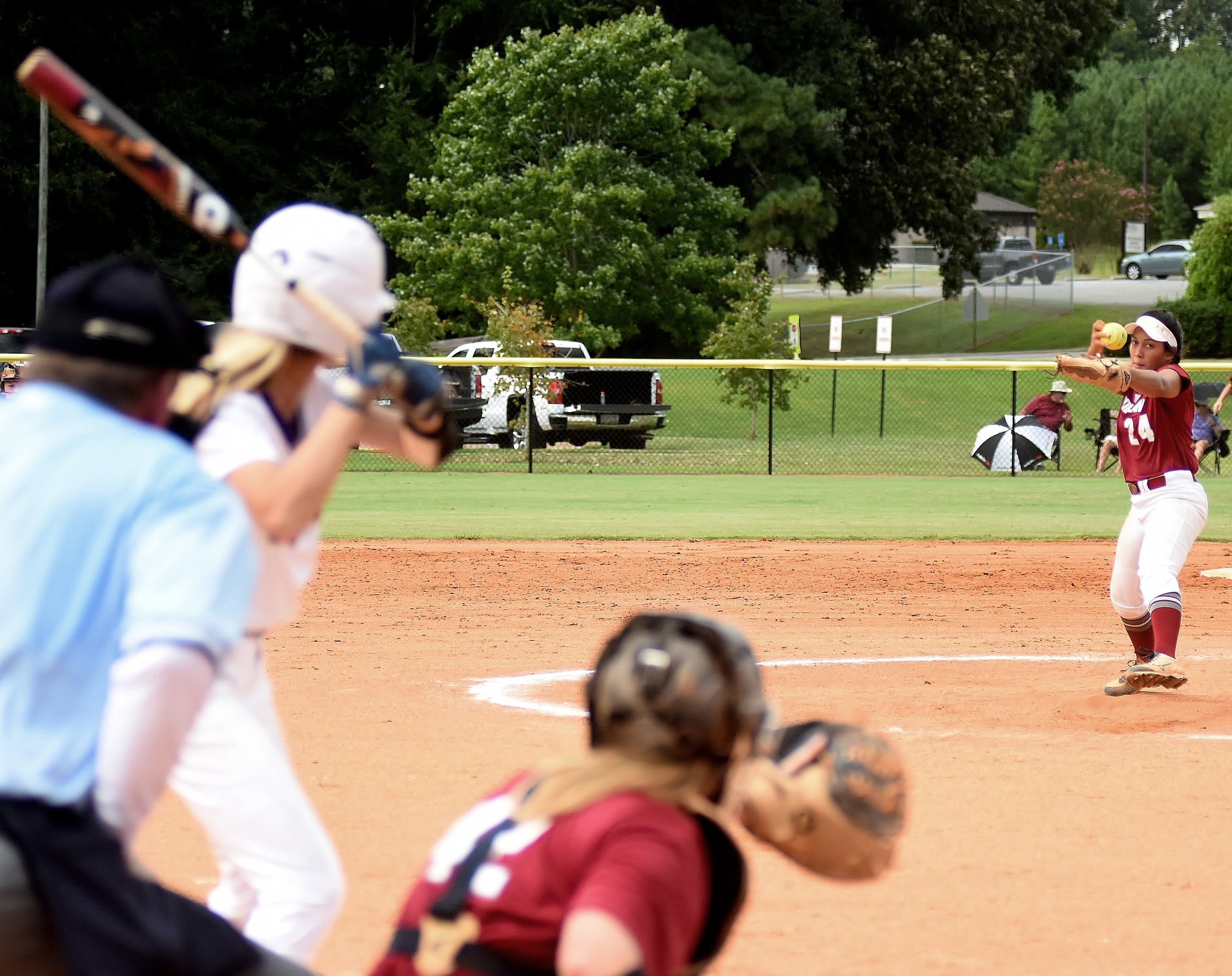 Woodland's Sarah Baynard delivers to the plate Saturday against Cartersville at Hamilton Crossing. The Wildcats earned an 11-3, five-inning win behind Baynard's complete-game effort.