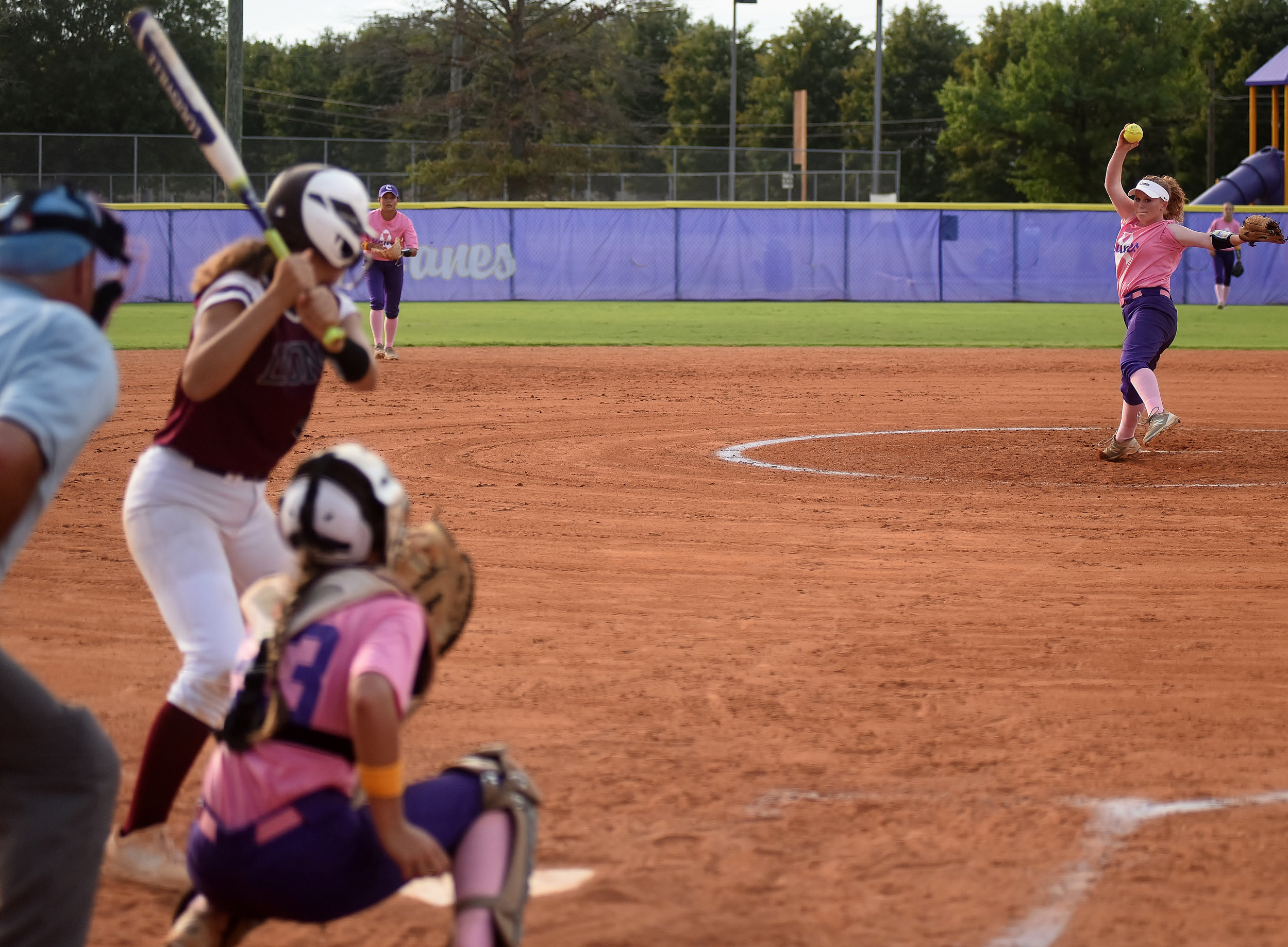 Cartersville pitcher Anna Kate McElhaney delivers to a Central-Carroll batter at the plate in the top of the third inning Thursday.