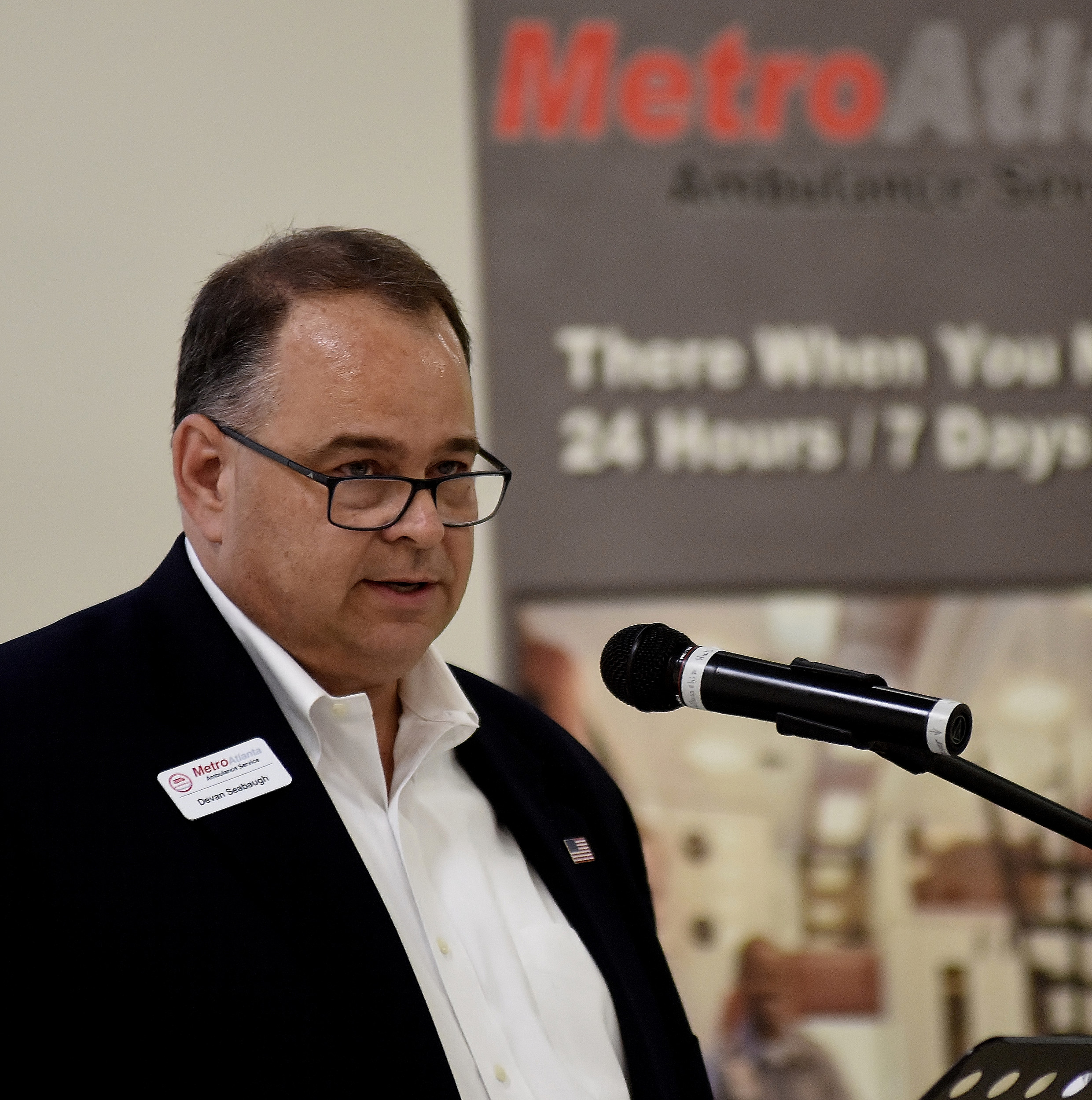MetroAtlanta Ambulance Service Vice President of Administration Devan Seabaugh spoke at Thursday's Cartersville-Bartow County Chamber of Commerce event in Adairsville.