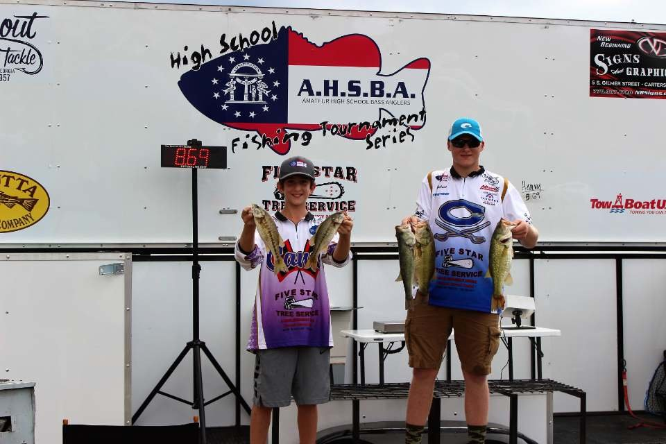 Peyton Ray of Cartersville High School, left, and Gabe Franklin of Cass High took first place in the Amateur High School Bass Anglers Tournament at Lake Weiss on Sept. 8.