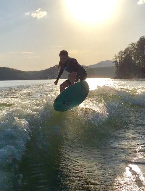 Cartersville resident Whitley Stewart wake surfs on Lake Allatoona. Stewart has been wake surfing for only two years, but the 14-year-old just won the world championship after her second consecutive national title.