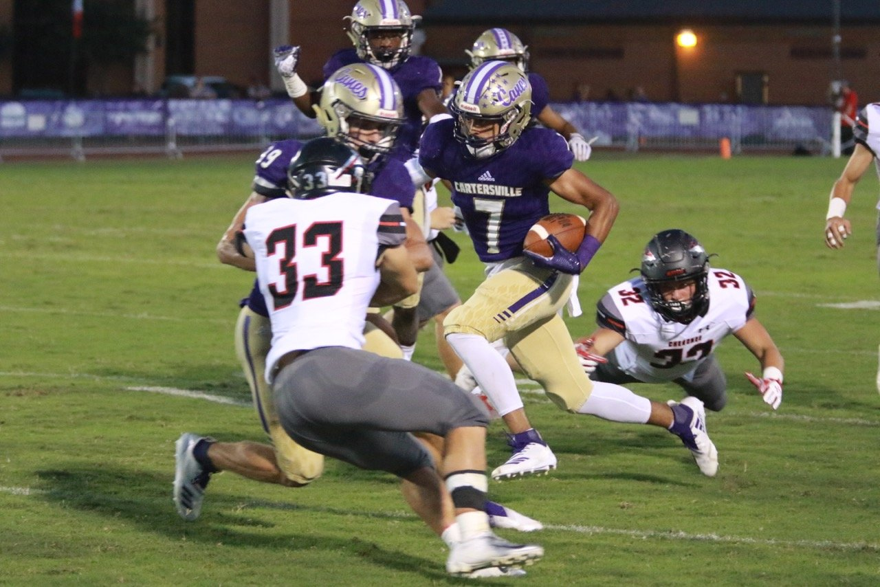 Cartersville junior Marko Dudley has proved to be a weapon for the Canes this season on special teams, showcasing his soft hands, agility and quickness on punt returns.