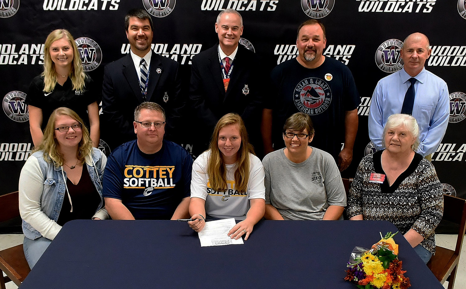 Woodland High senior Skylar Chappell signed Tuesday to play softball at Cottey College in Nevada, Missouri. On hand for the signing were, front row, from left: Sonja Chappell, sister; Eugene Chappell, father; Stacia Chappell, mother; and Barbara Summey, grandmother; back row, from left: Christian Novak, Cottey College assistant softball coach; John Howard, WHS athletic director; Wes Dickey, WHS principal; Brent Higdon; and Colman Roberts, WHS softball coach.