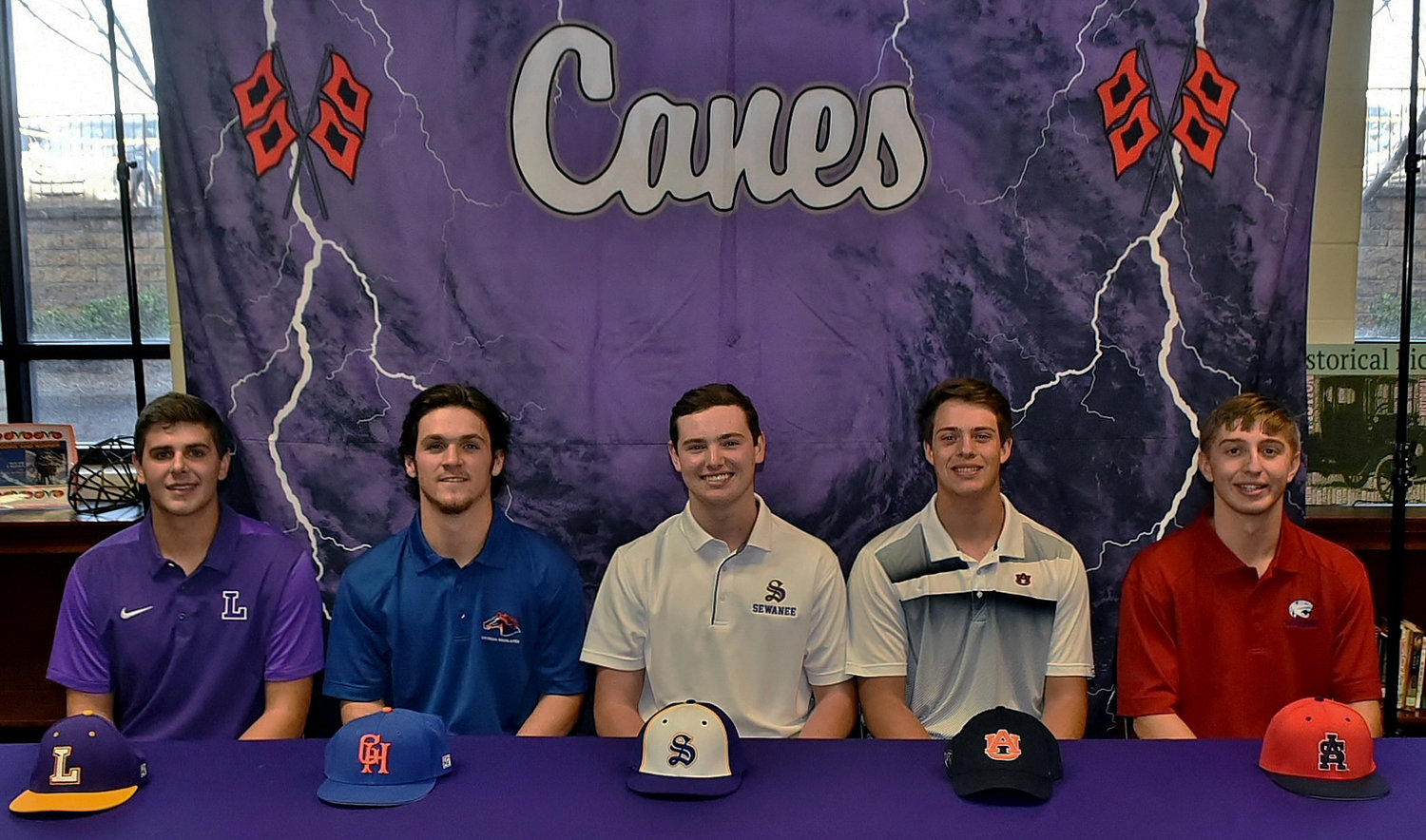 On Wednesday, five Cartersville High seniors celebrated the signing of their national letters of intent to play baseball at the collegiate level. From left, they are Jordan Wilkie, Lipscomb; J.P. Martin, Georgia Highlands; Logan Martin, University of the South, Sewanee; Mason Barnett, Auburn; and Preston Welchel, South Alabama.