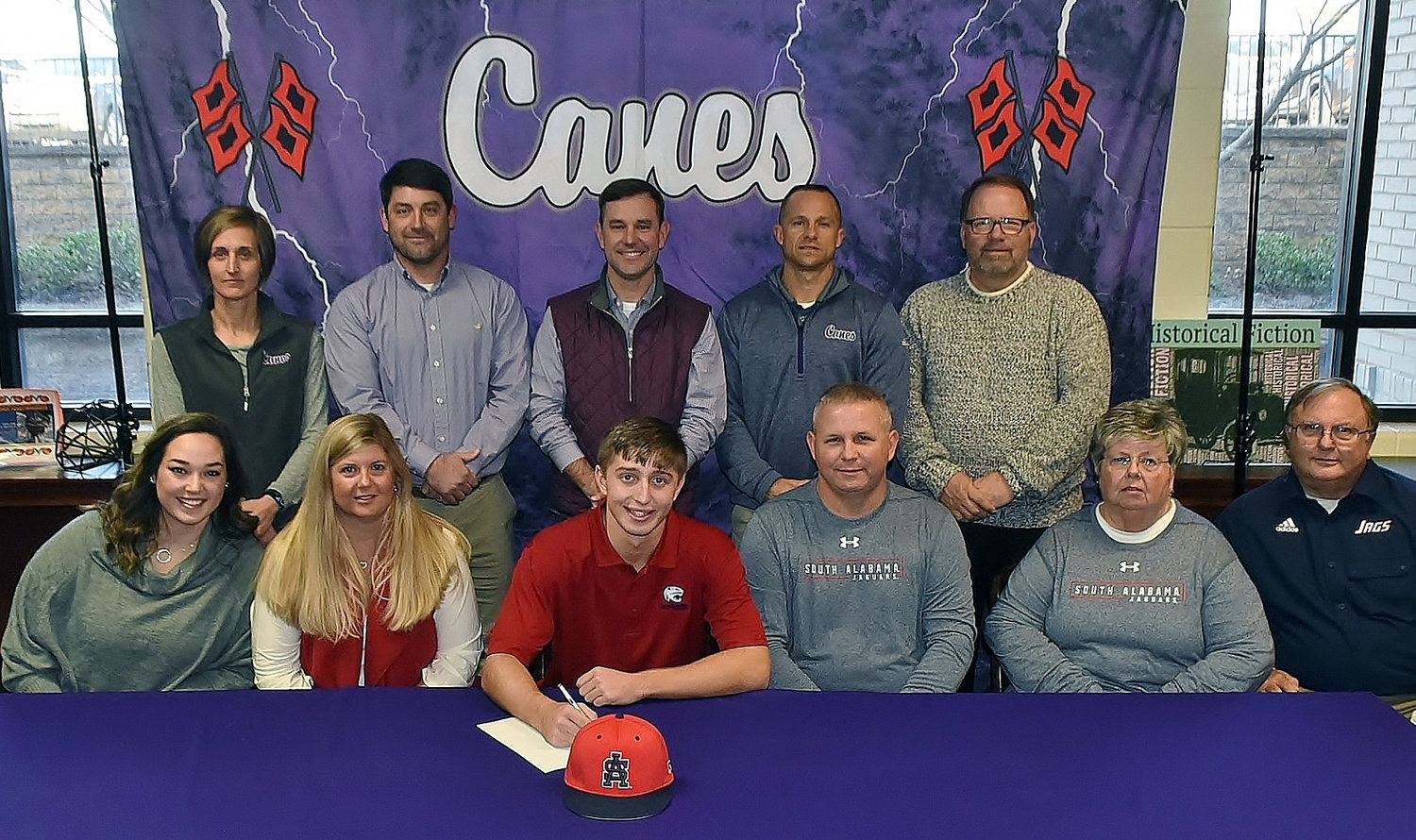 On Wednesday, Cartersville High senior Preston Welchel celebrated the signing of his national letter of intent to play baseball at South Alabama in Mobile. On hand to join him were, from left, front row: Sidney Welchel, cousin; Monika Welchel, mother; Jarrod Welchel, father; Linda Nelson, grandmother; Mitchell Nelson, grandfather; back row, Shelley Tierce, CHS principal; Brandon Patch, CHS assistant baseball coach; Kyle Tucker, CHS head baseball coach; Corey Gochee, CHS assistant baseball coach; and Darrell Demastus, CHS athletic director.