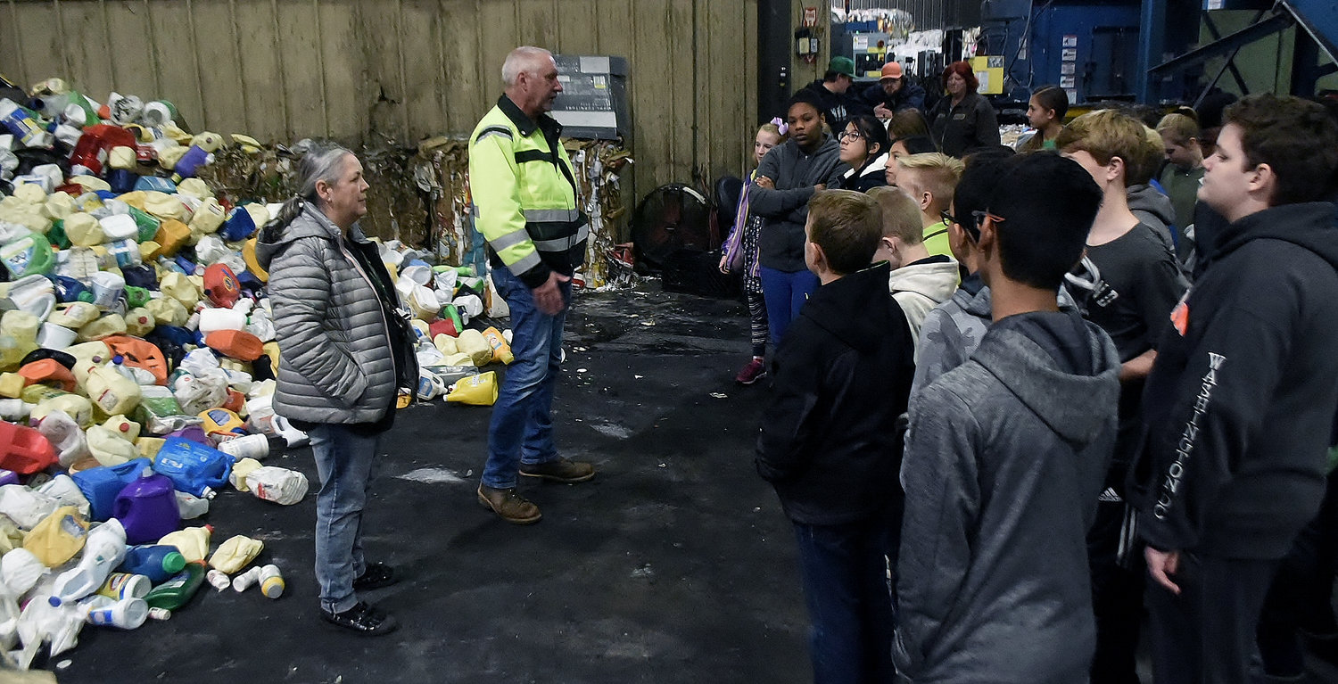 Bartow County Solid Waste Director  Rip Conner talks to Cartersville Middle School students about recycling during a tour of the county's recycling center.