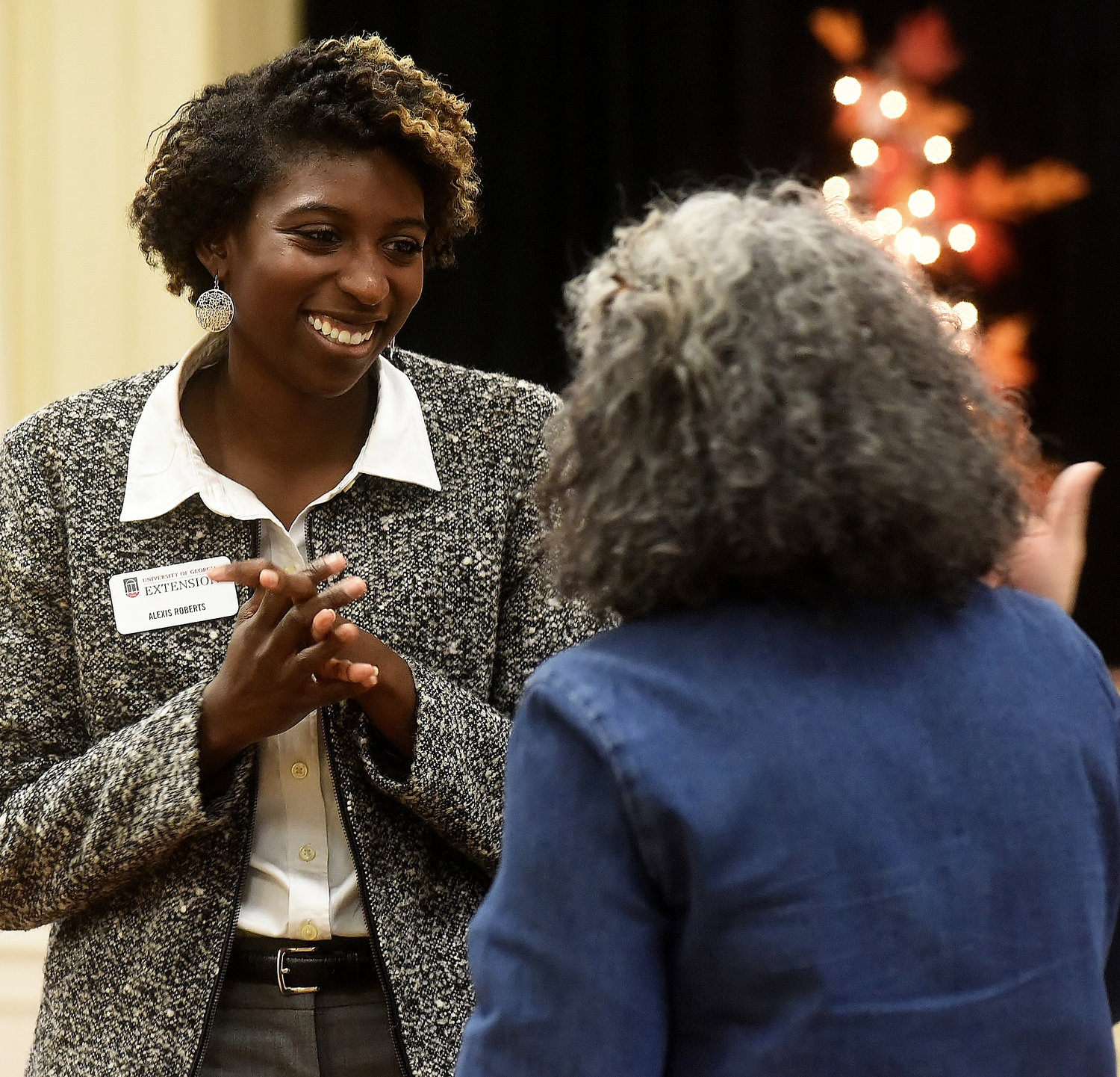 SNAP-Ed Supervisor Alexis Roberts, left, speaks with Karen Tindall at the Bartow County SNAP-Ed Appreciation Luncheon Nov. 29.