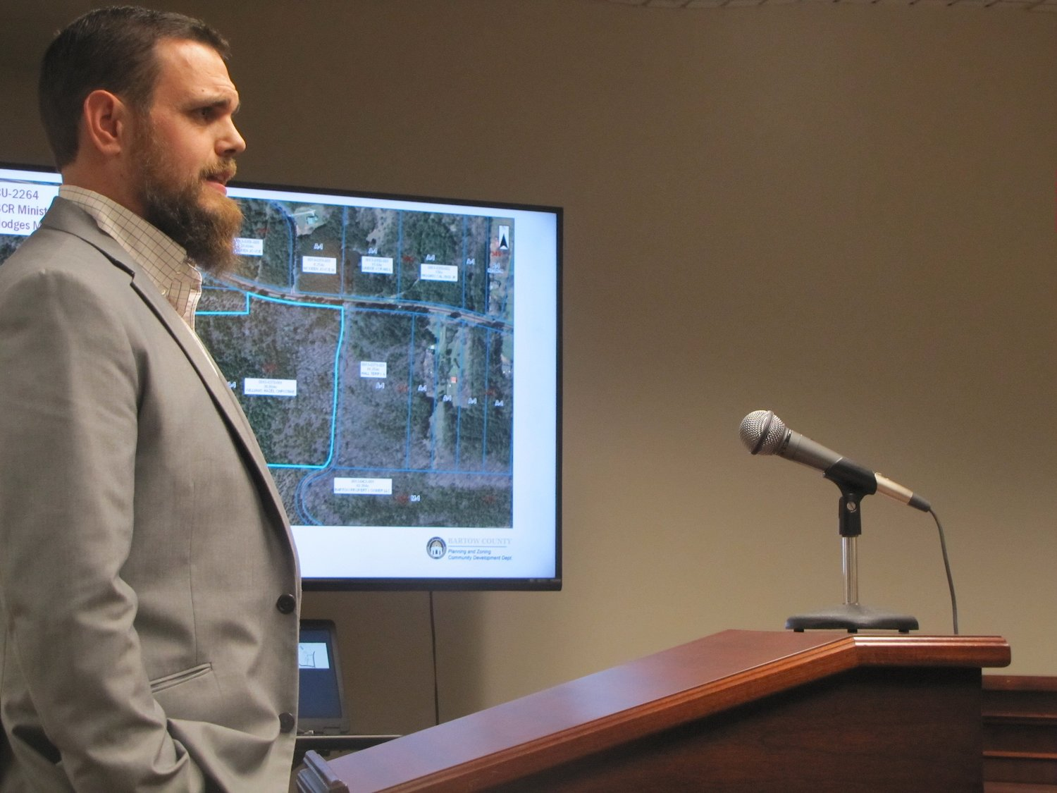 BCR Ministries, Inc. representative Lucas Mather speaks at Monday's Bartow County Planning Commission meeting.