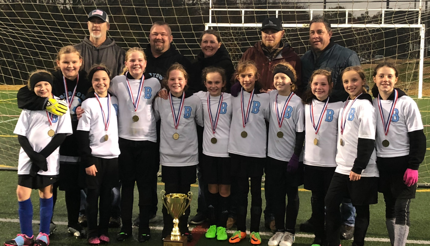 The Bartow County Parks and Recreation Department 10-and-under girls soccer team won the state championship over the weekend in Dalton. Pictured are, from left, front row: Ryland Piatt, Layla Allgood, Gracie Cash, Carly Edwards, Ella Edwards, Bailey DeBoard, Kiley McMichael, Layla Morgan, Emma Edwards, Zoe Bailey and Malorie Rogers; back row, assistant coach Robert Morgan, head coach Jimmy Edwards, assistant coach Sabrina Edwards, assistant coach Sam Cash and assistant coach Bobby McMichael. Not pictured: AnnaGrace Weathers.