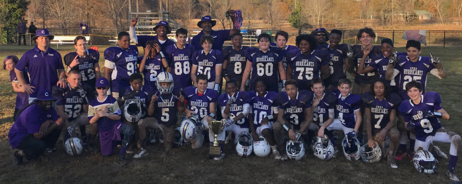 The Cartersville Parks and Recreation Department 12-and-under football team won its second consecutive state championship with a 12-6 victory over Savannah on Sunday in Walton County. The team consisted of the following players: Samuel Bernstein, Jimmy Channell, Jayden Curtis, Robert Dellaporta, Cole Dumas, James Echols, Trevor Harris, Co'Reyn Hayes, Landen Heath, Khristian Lando, Isaiah Livsey, Baylon Long, Brodie McWhorter, Cooper Moon, K.J. Morris, Brayden Pope, Jakeveon Porter, Kendrick Price, Stephen Rowser, Asa Shepard, Logan Shrewsbury, Luke Surrett, Brelace Williams, Tre'Shaun Winters and Logan Woods.