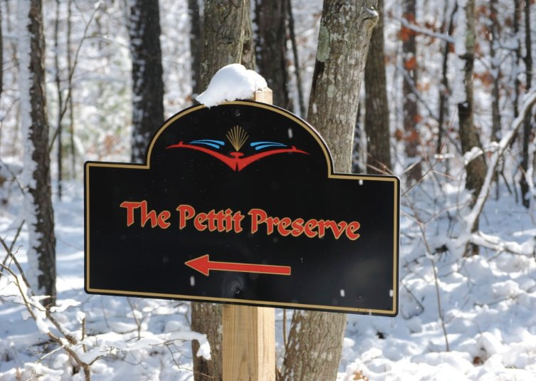 The Pettit Preserve's sign is pictured during last year's December snowfall.