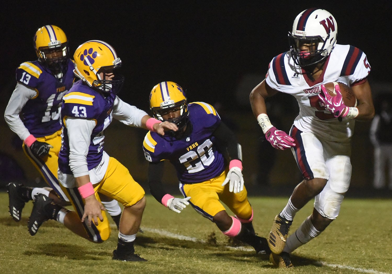 Woodland senior Titus Jones carries the ball against Villa Rica in a game this past season. Jones landed the DTN's all-county player of the year honor.