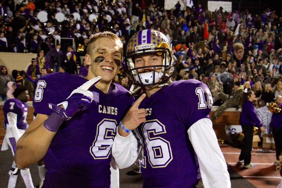 Cartersville grads Miller Forristall, left, and Trevor Lawrence pose for a picture during the Class 4A state semifinal game against Bainbridge at Weinman Stadium on Dec. 4, 2015. Forristall's Alabama and Lawrence's Clemson will meet in the national championship game Monday in Santa Clara, California.