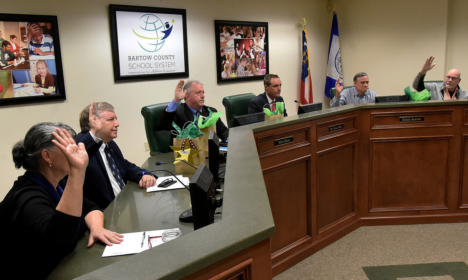 At Monday's meeting, the Bartow County Board of Education voted to appoint board member Fred Kittle as chairman and board member Derek Keeney as vice chairman for the upcoming term. Present at the meeting were, from left, board member Anna Sullivan, Kittle, board member Tony Ross, superintendent Dr. Phillip Page, Keeney and board member Terry Lee Eggert.