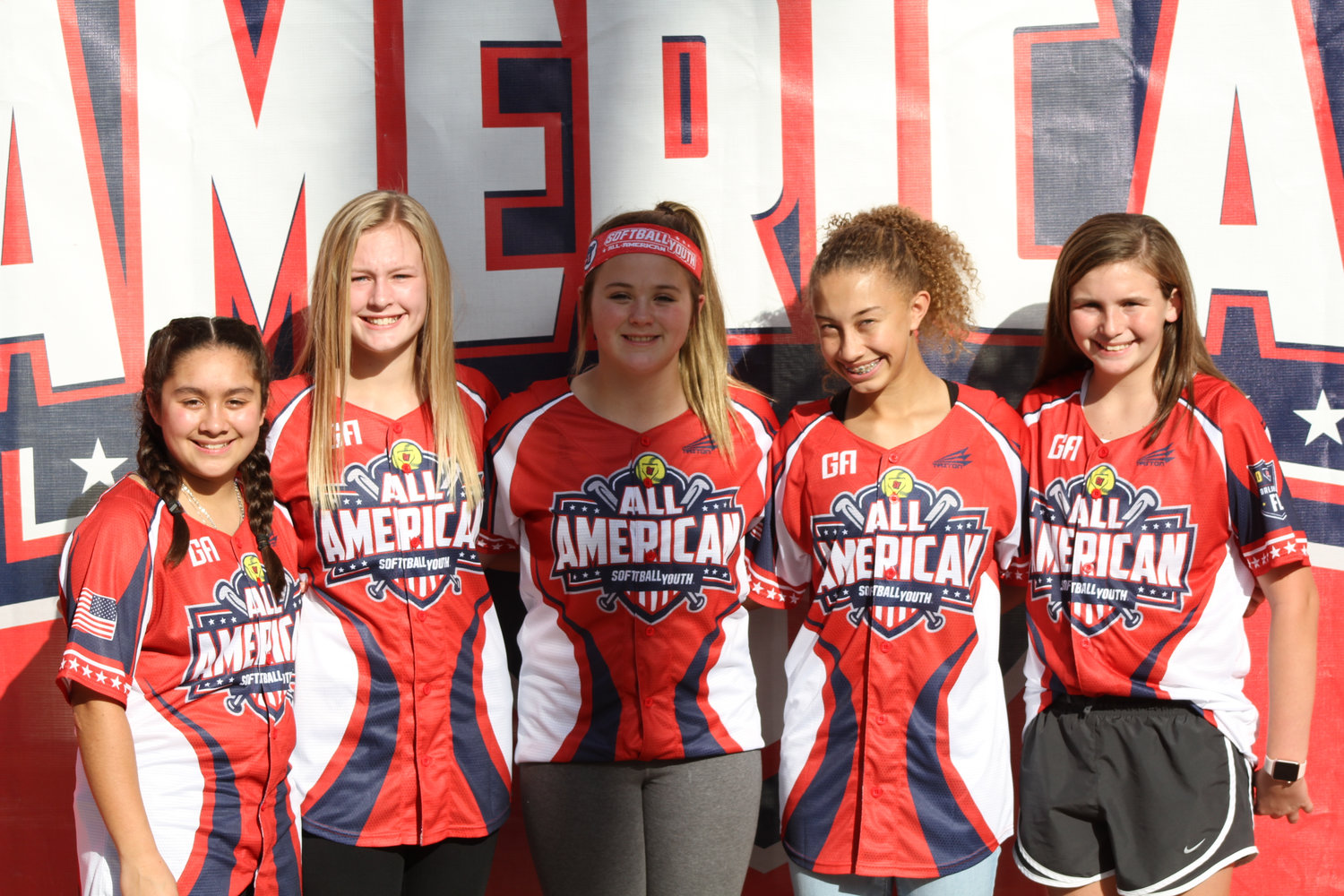 Five athletes from the Diamond Devils 12U travel fastpitch softball team, based out of Adairsville, competed in the 2019 Youth Softball All-American Games from Jan. 2-5 in Orlando, Florida. Four of the five girls are students at Adairsville Middle School, while the other attends Red Bud Middle School in Calhoun. Pictured from left are Gabi Becerra, Peyton Dorn, Rebecca Tippett, Alissa Winters and Sadie Raughton.