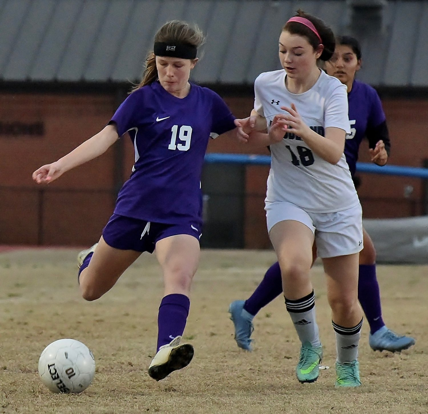 Cartersville's Abby Craig takes a shot on goal in their Thursday game at home against Woodland.