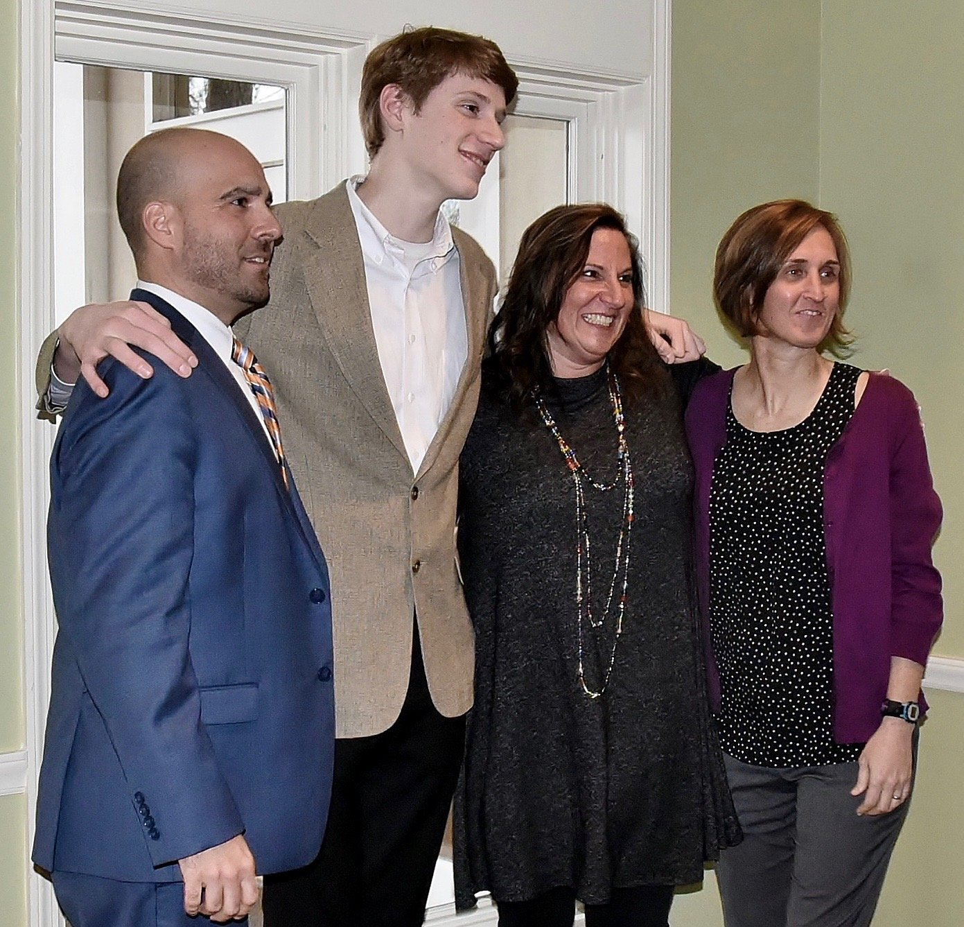 Cartersville High School STAR Student Ethan Boone, second from left, poses for a photo with, from left, Cartersville City Schools Superintendent Dr. Marc Feuerbach, Boone's STAR Teacher Valerie Veiga, and CHS principal Shelley Tierce Feb. 20.