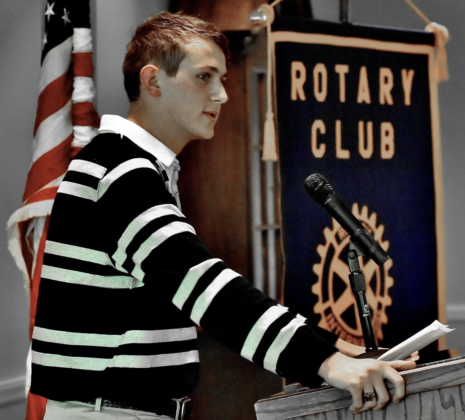 Bartow County STAR Student Peter Germ of Woodland High School addresses the Cartersville Rotary Club at the Cartersville Country Club Feb. 20.