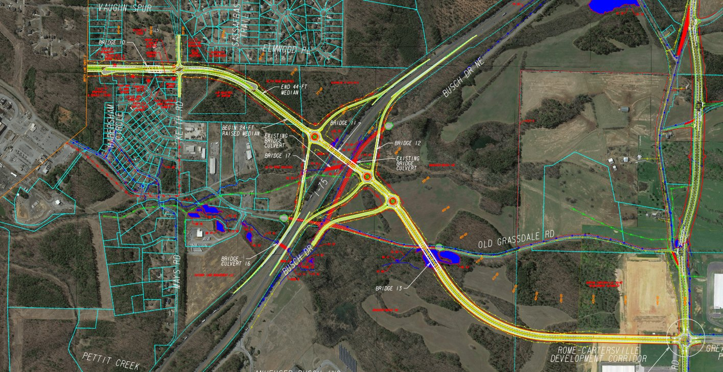 GDOT conceptual plans show the potential path of the $155 million Rome-Cartersville Development Corridor connector.