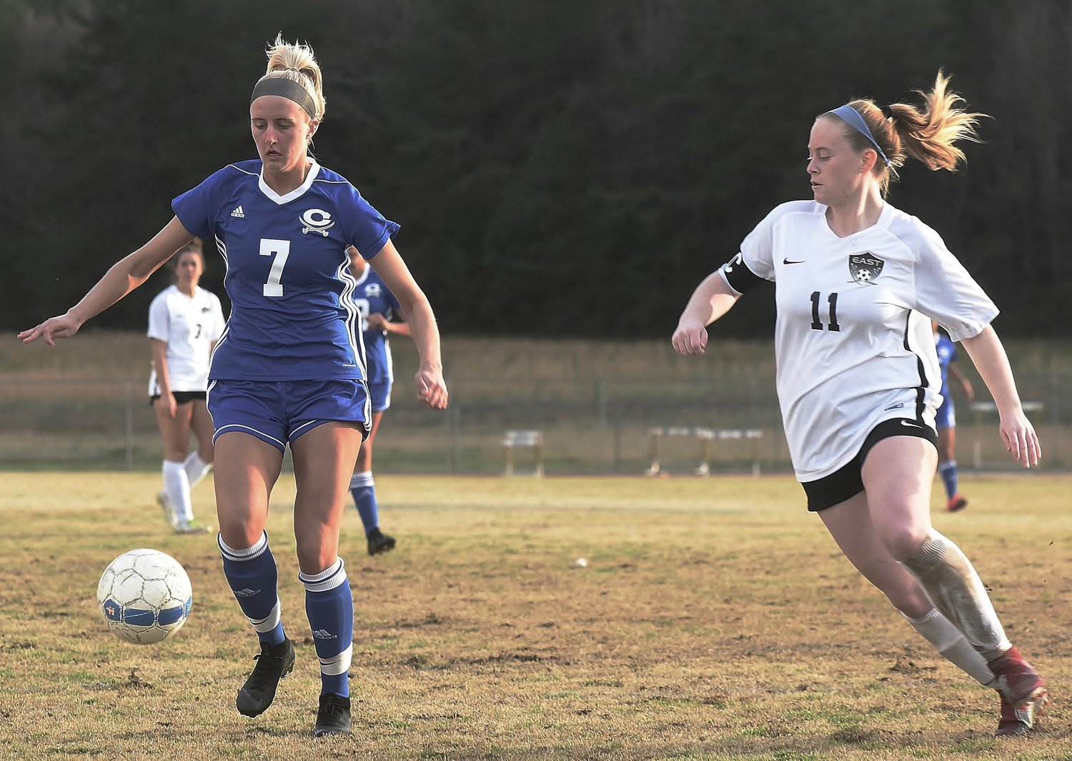 Cass senior Logan Vermaas brings the ball upfield for the Colonels on Tuesday. Vermaas scored and had an assist, but Cass lost a 5-4 home game to East Paulding.