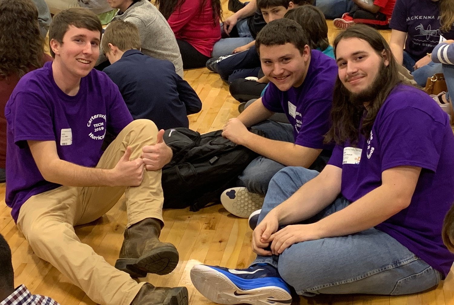 Cartersville High students, from left, Hayes Miller, Tyler Turner and Nicholas Francek were invited to compete at Saturday's Georgia Student Technology Competition after winning first place at the Northwest Regional Tech Competition in January.