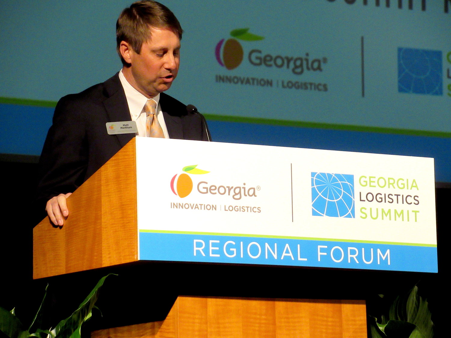 Center of Innovation for Logistics Director Matt Markham gives opening remarks at Thursday's 11th Annual Georgia Logistics Summit Regional Forum.