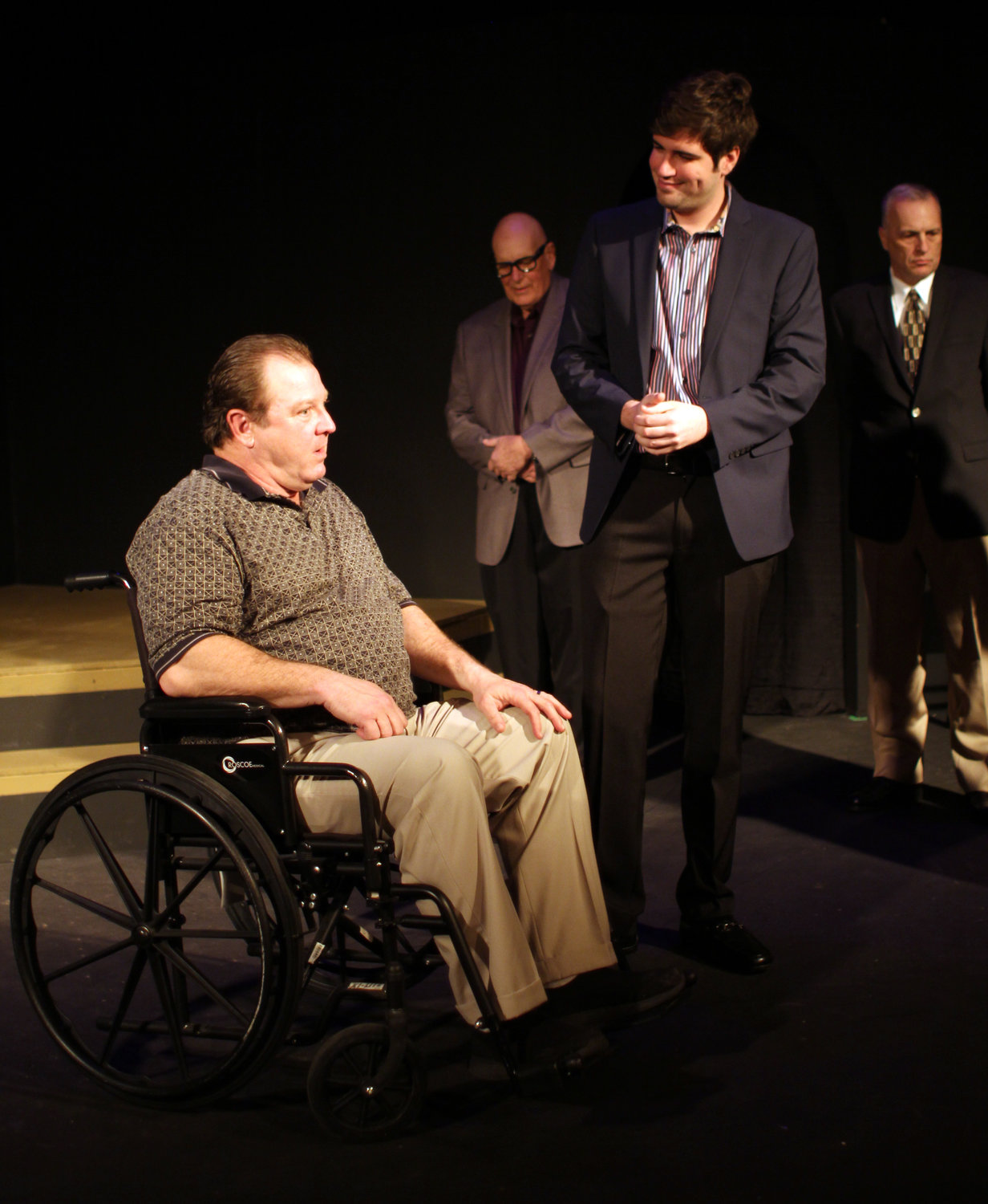 "Kip Henderson, left, and Parker Patzke portray former U.S. President Richard Nixon and David Frost, respectively, in The Pumphouse Players' production of ""Frost/Nixon."""