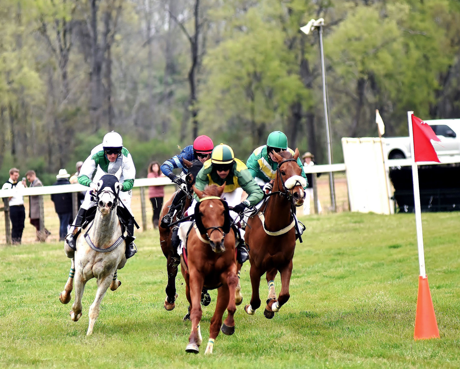 Horses round a curve in the inaugural Georgia Steeplechase race meet at Kingston Downs.