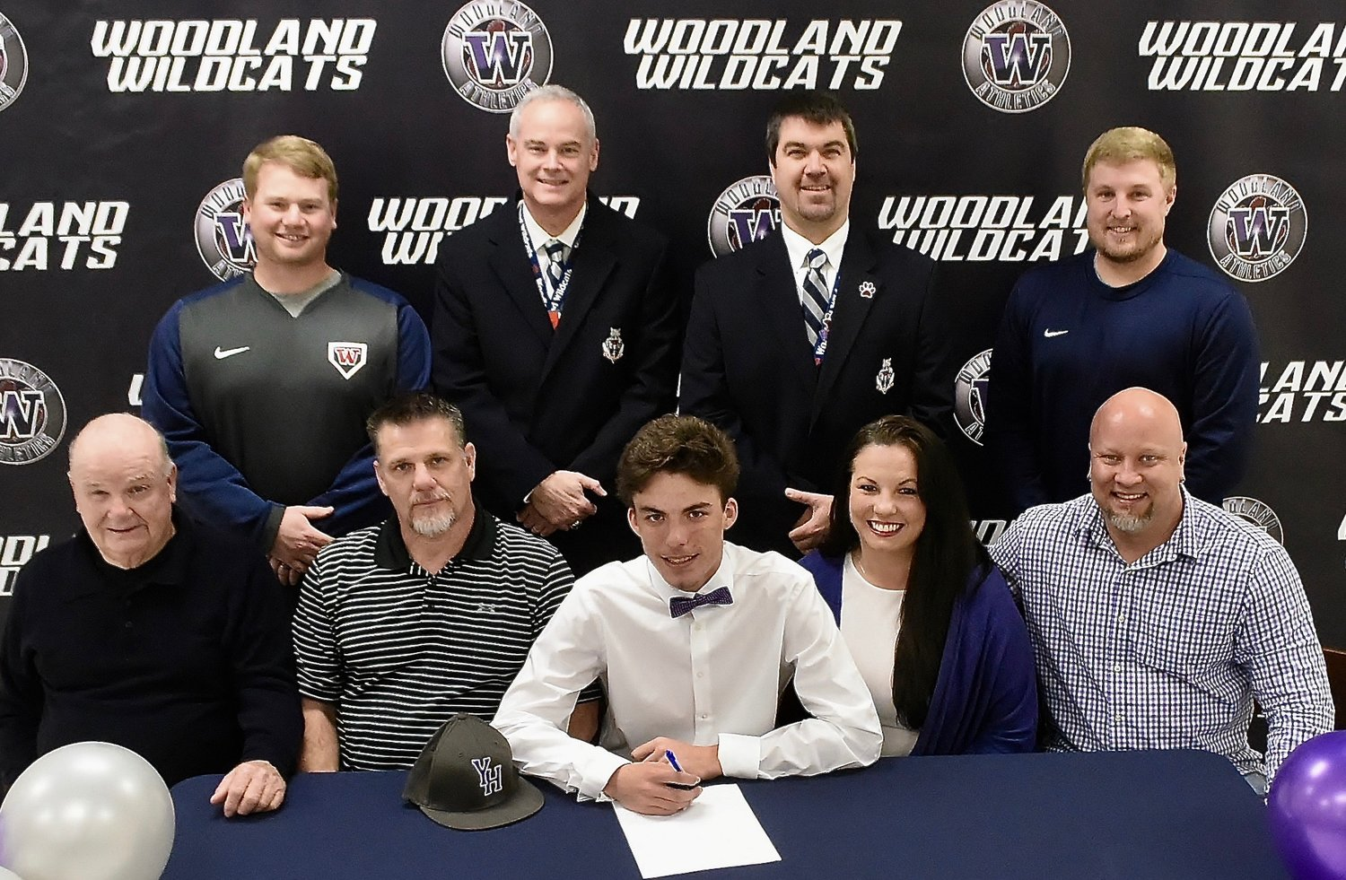 Woodland High senior Bailey Ward signed recently to play baseball at Young Harris College. On hand for the signing were, from left, front row: Jimmy Ward, grandfather; Shane Ward, father; Rhonda Webb, mother; Steve Webb, stepfather; back row, Matt Montgomery, WHS interim head coach; Wes Dickey, WHS principal; John Howard, WHS athletic director; and Colby Coursey, former WHS head coach.
