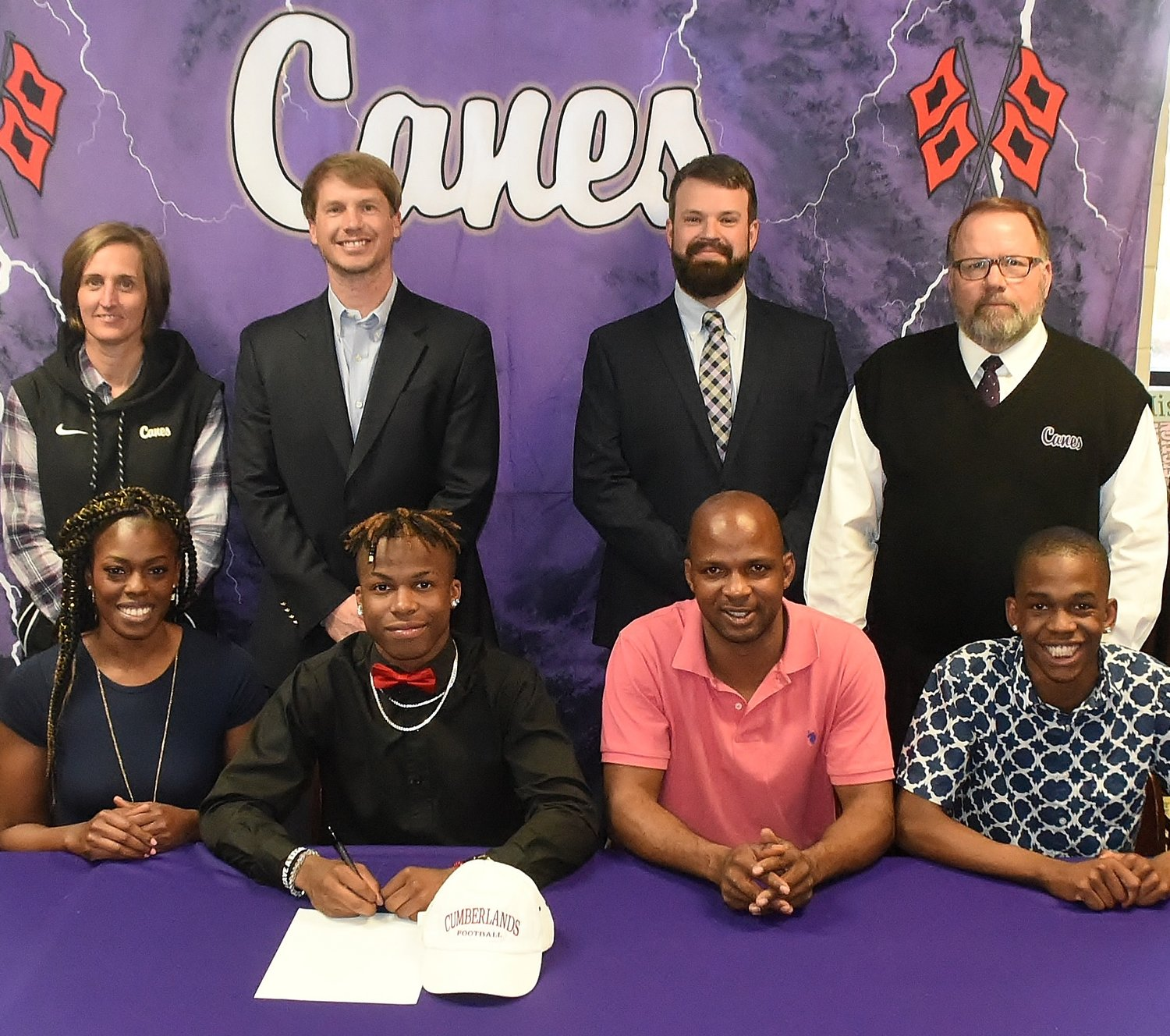 Cartersville High School senior Dadrian Dennis signed to play football with the University of the Cumberlands in Williamsburg, Kentucky. On hand for the signing were, from left, front row, Jessica Dennis, mother; Jermond Evans, stepfather; Donavan Dennis, brother; back row: Shelley Tierce, CHS principal; Conor Foster, CHS head football coach; Dusty Phillips, CHS assistant football coach; and Darrell Demastus, CHS athletic director.
