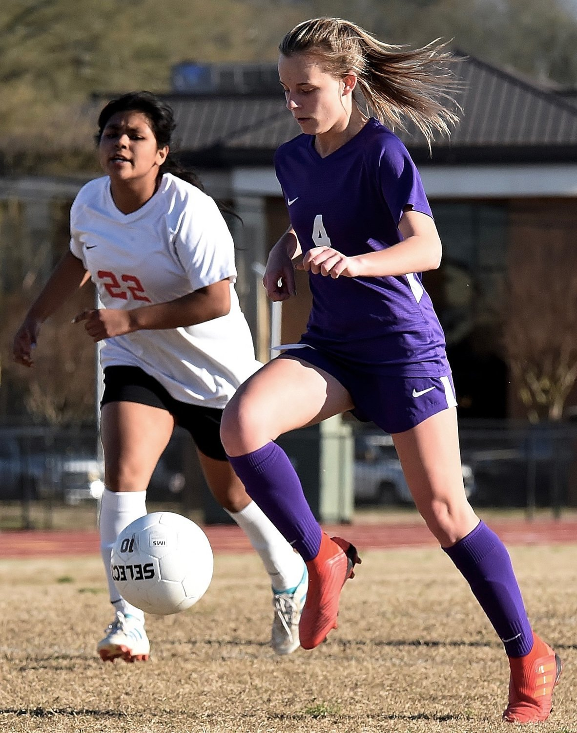 Cartersville junior Kalyn Donegan brings the ball upfield during a home game against Cedartown March 19 at Weinman Stadium.