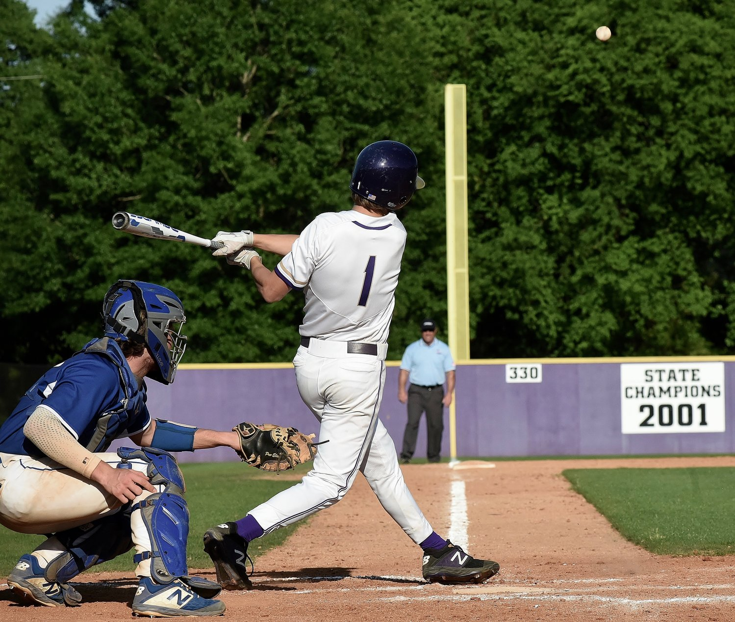 Cartersville senior Kolby Adams chops a single over the Oconee County third baseman heads during Game 1 of a Class 4A state tournament first-round series Wednesday at Richard Bell Field. Adams came around to score the final run in a 10-0, run-rule victory en route to a series sweep.