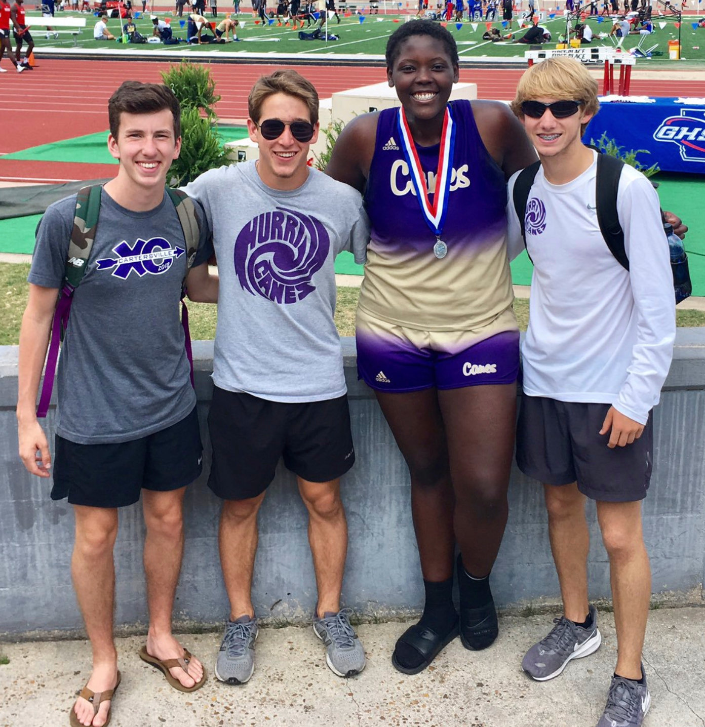 Cartersville High senior London Shaw, second from right, poses with the school's other state-qualifiers, from left, Parker Breedlove (3200-meter run), Nick Bebko (pole vault) and Bill Archer (1600-meter run) after finishing second in the Class 4A shot put at the track and field state championships in Albany.