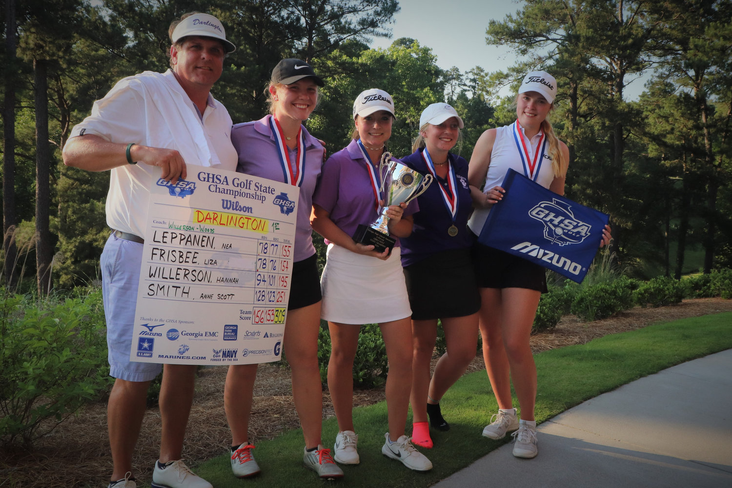 The Darlington School girls golf team won the Class A-Private state championship for the second straight year, beating out Athens Academy by five strokes Tuesday at Green Island Country Club in Columbus. Pictured, from left, are coach Jared Willerson, Hannah Willerson, Liza Frisbee, Anne Scott Smith and Nea Leppanen. Frisbee, a junior from Cartersville, finished third in the tournament with a two-day score of 154.