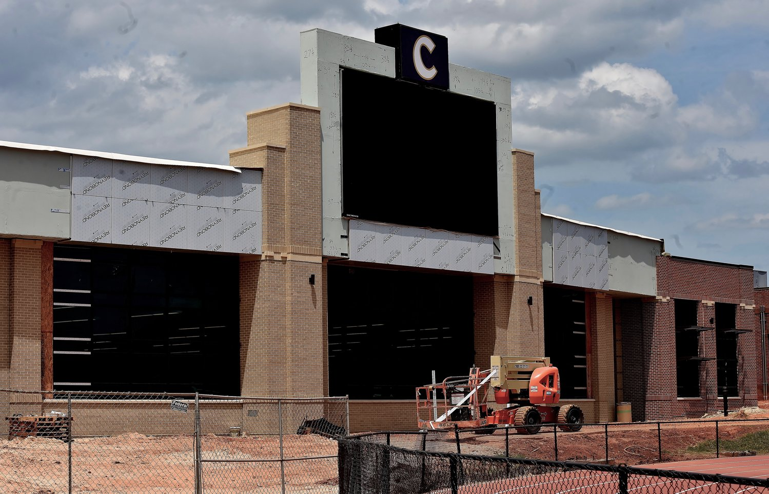 "Cartersville City School Board vice president Travis Popham said Tuesday that the new field house on the Church Street campus of the high school is ""about 90-95% complete."""