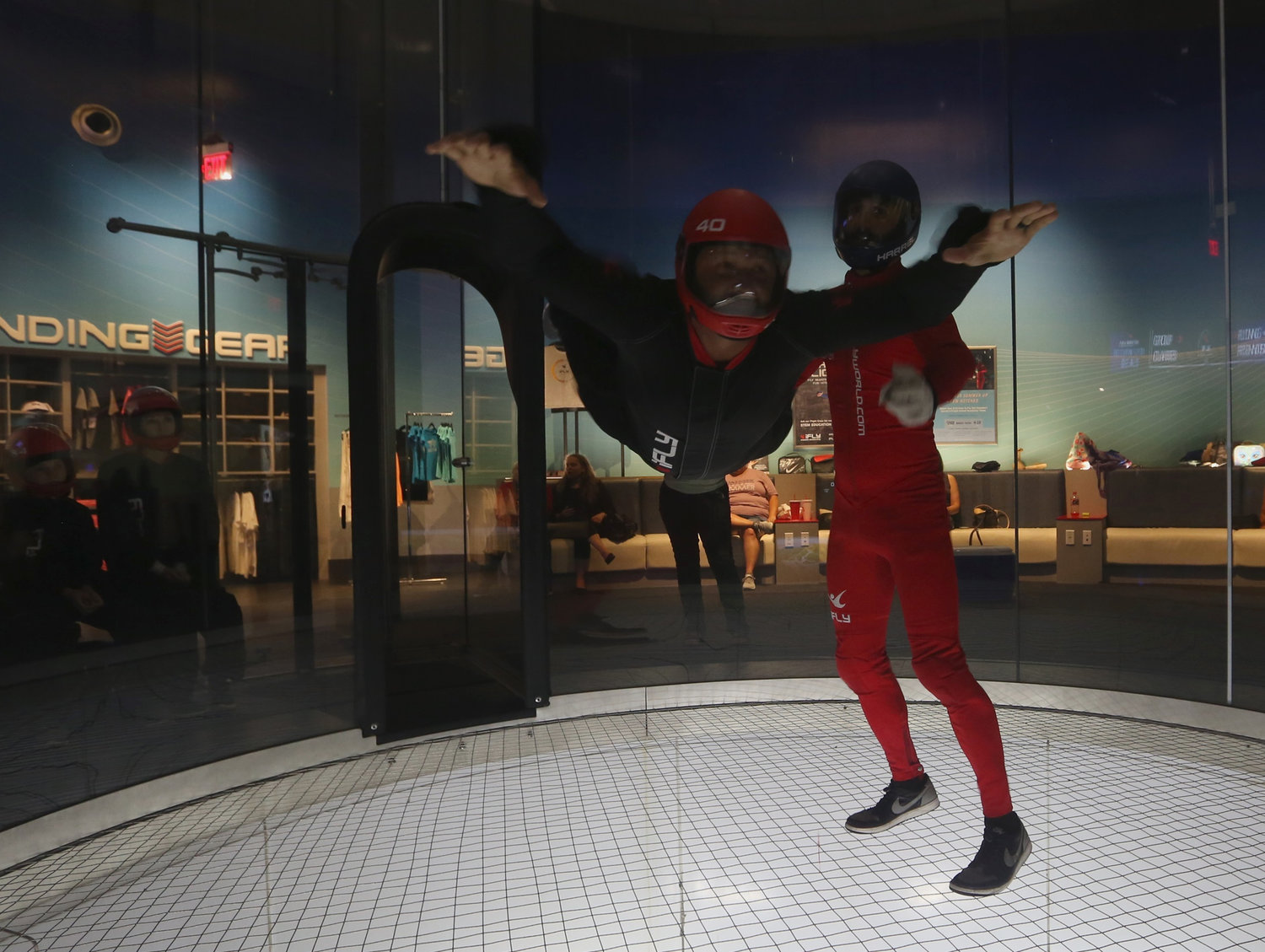 Clear Creek Elementary fourth-grader Cameron Wilson experiences what it feels like to fly in the wind tunnel at iFly Atlanta last month.